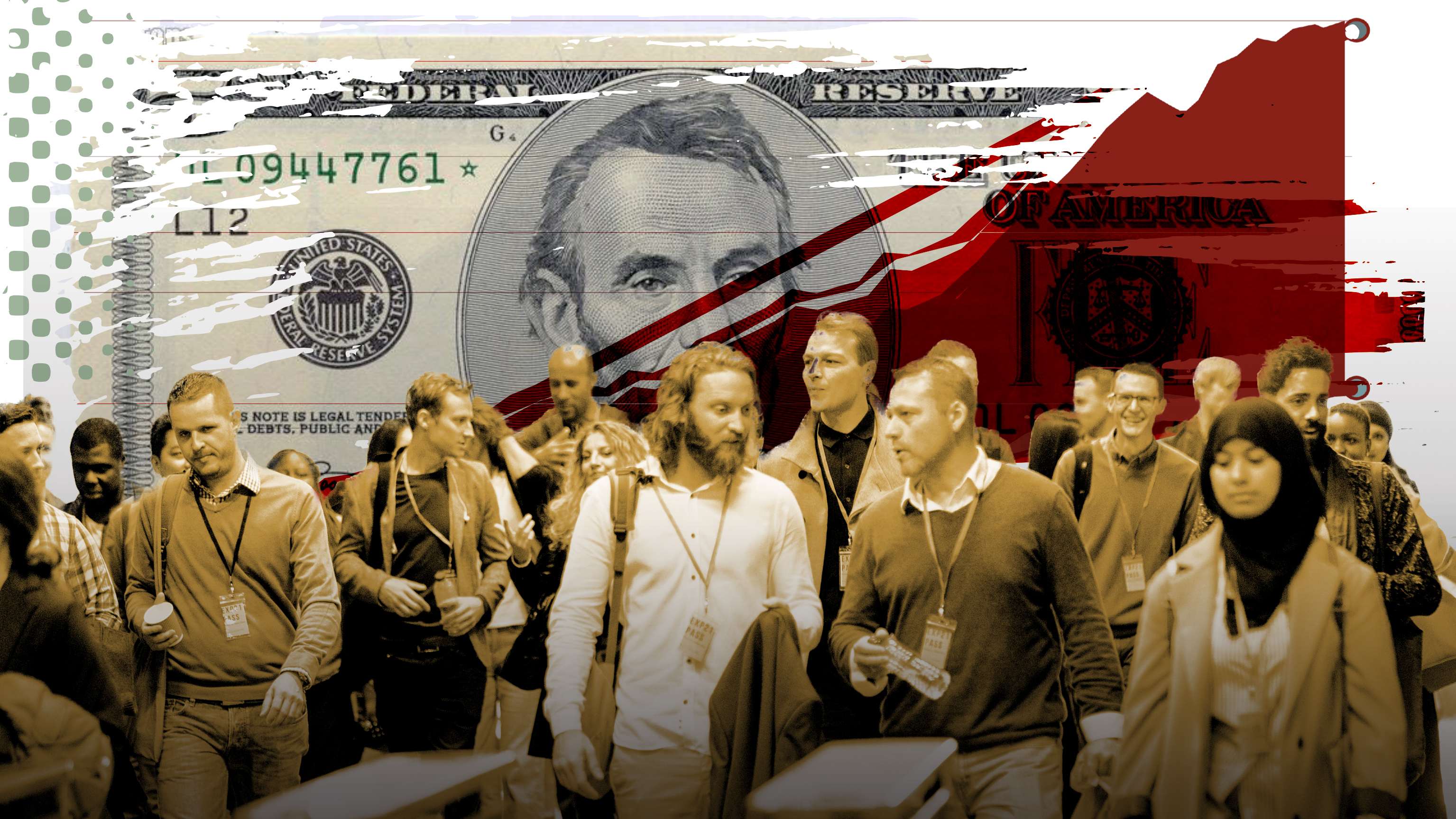 A photo illustration of a $5 bill and a crowd of people.