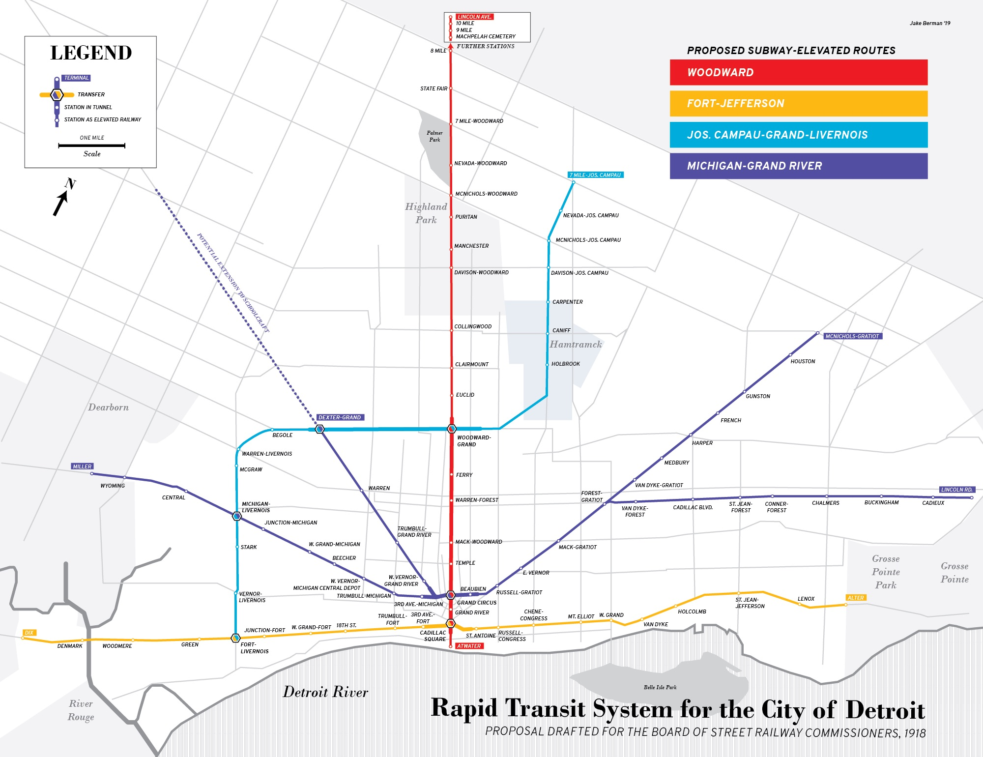 A designer made maps of past and hypothetical Detroit transit systems