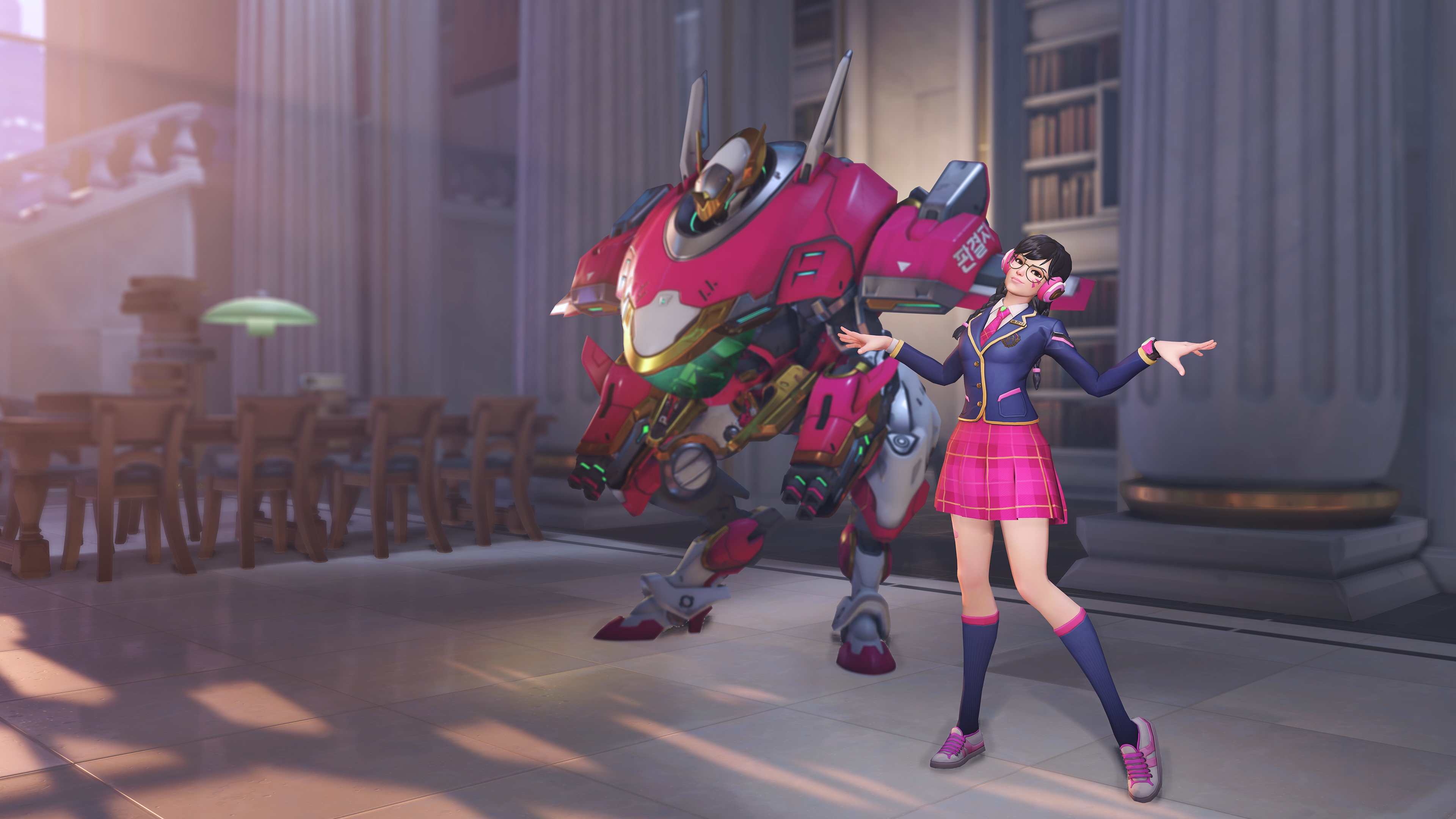 D.Va stands next to her MEKA in her Academy skin from Overwatch's Anniversary 2019 event.