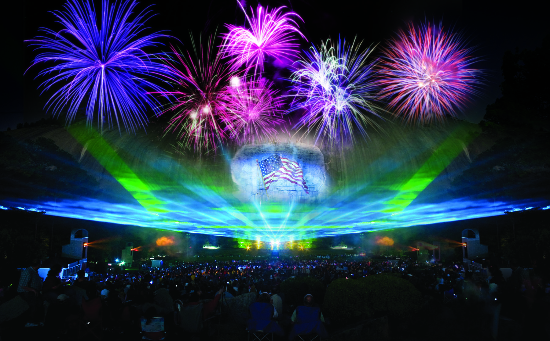 Lasershow and fireworks at Stone Mountain Park