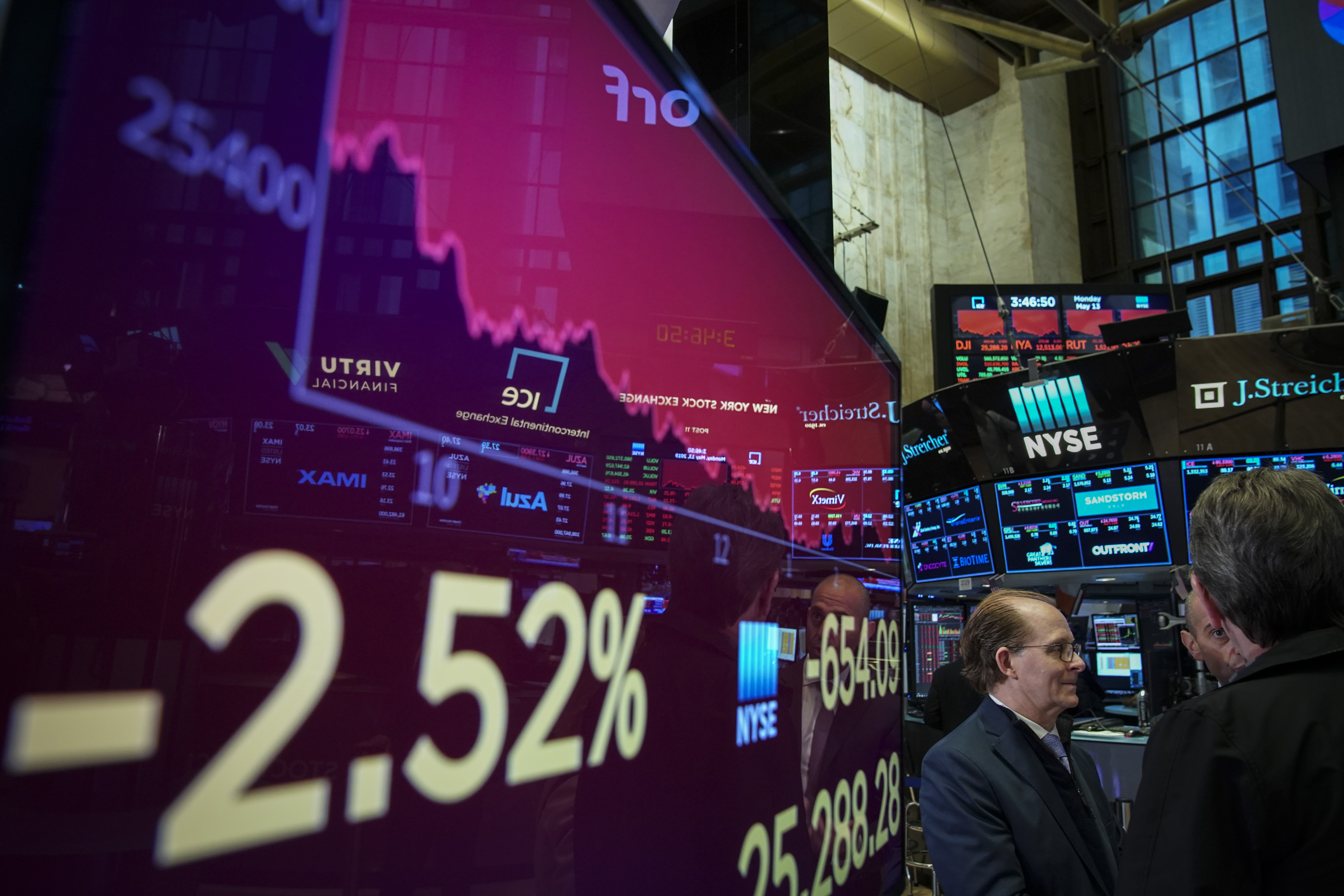 A stock exchange screen shows a chart going down and to the right with the negative number 2.52 percent.