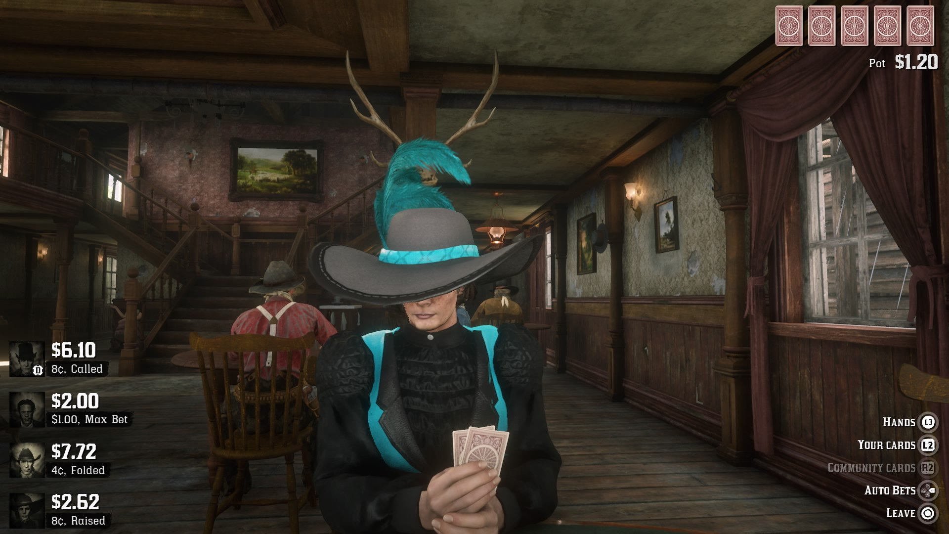 Red Dead Online - a woman plays poker