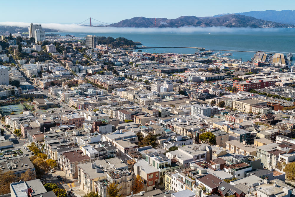 Aerial view of rooftops in northeaster San Francisco.
