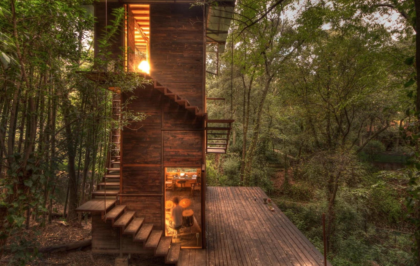 Gorgeous timber home stretches vertically into the forest