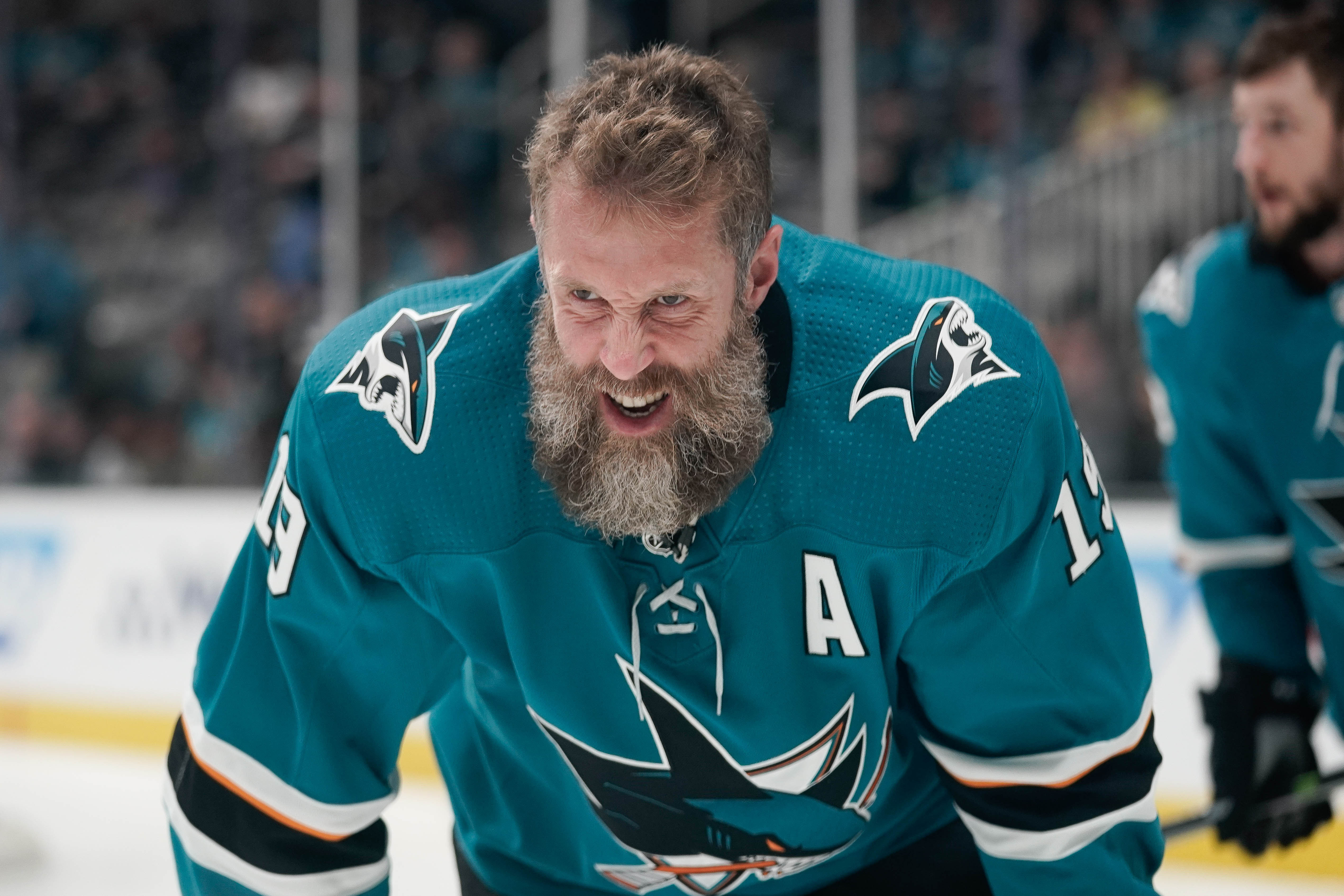 San Jose Sharks center Joe Thornton (19) warms up before the game against the Vegas Golden Knights in game seven of the first round of the 2019 Stanley Cup Playoffs at SAP Center at San Jose.