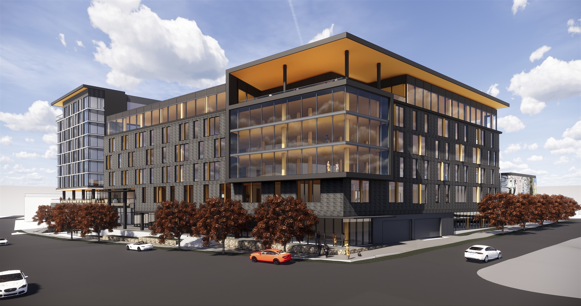 Rendering of multistory building comprised of timber.