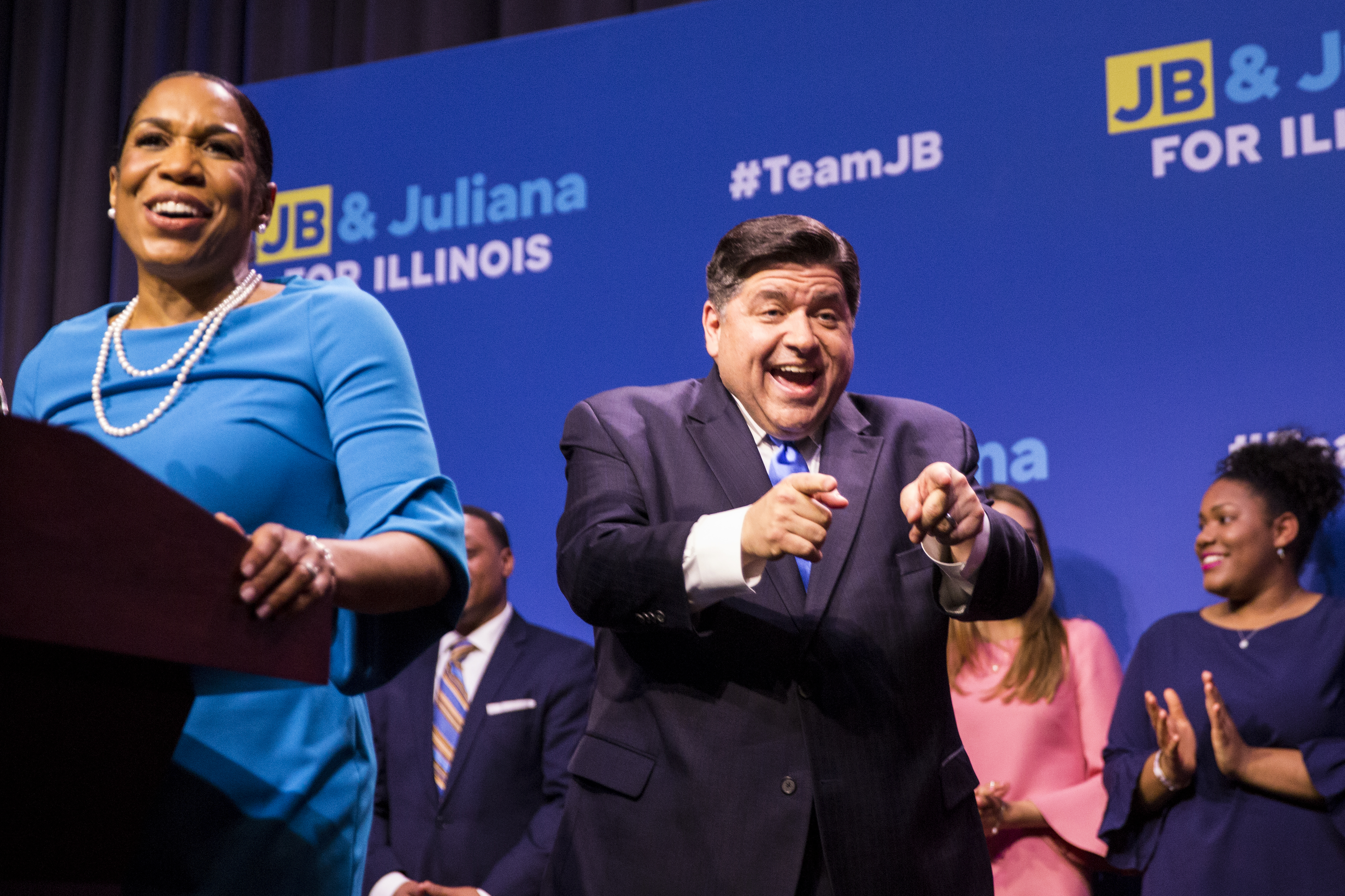 Gubernatorial candidate J.B. Pritzker and his running mate, Juliana Stratton, celebrate their win in the Democratic primary on Tuesday. | Ashlee Rezin/Sun-Times