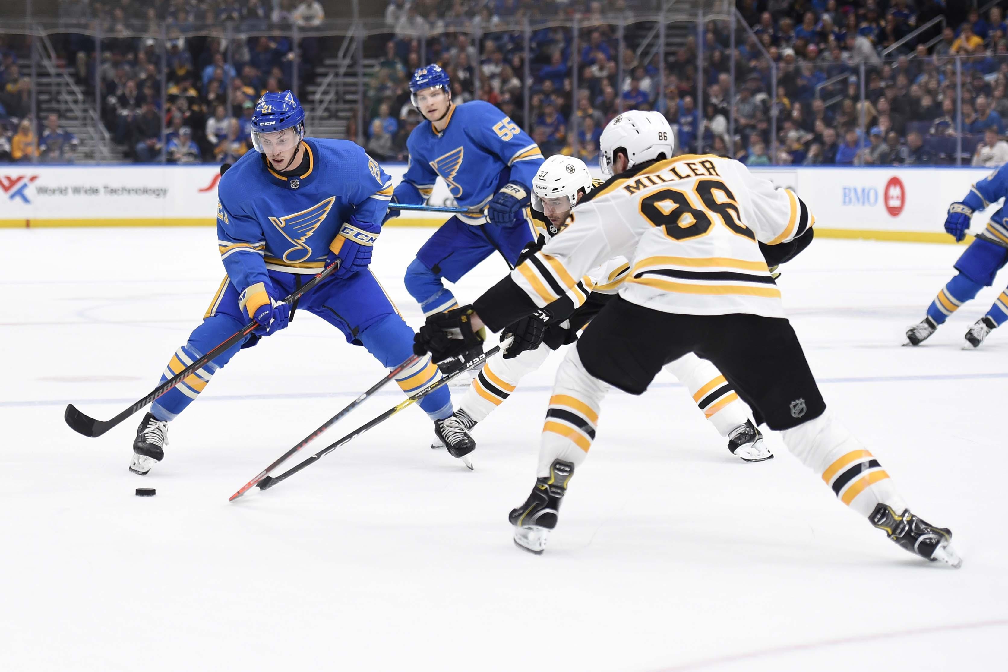 Feb 23, 2019; St. Louis, MO, USA; Boston Bruins defenseman Kevan Miller (86) defends against St. Louis Blues center Tyler Bozak (21) during the second period at Enterprise Center. Mandatory Credit: Joe Puetz
