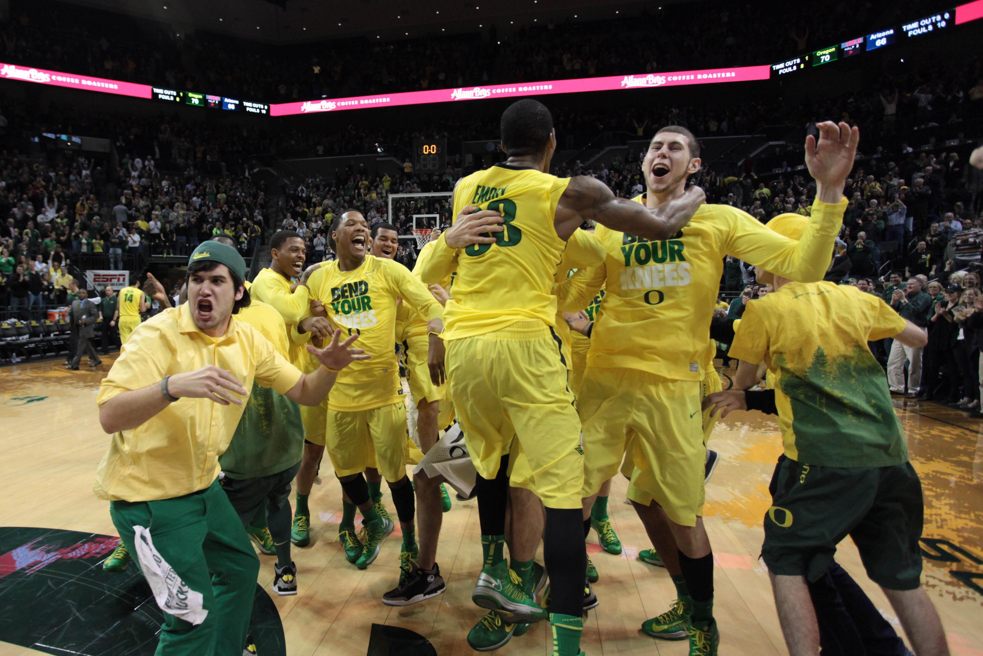 Carlos Emory celebrates a big win over Arizona.