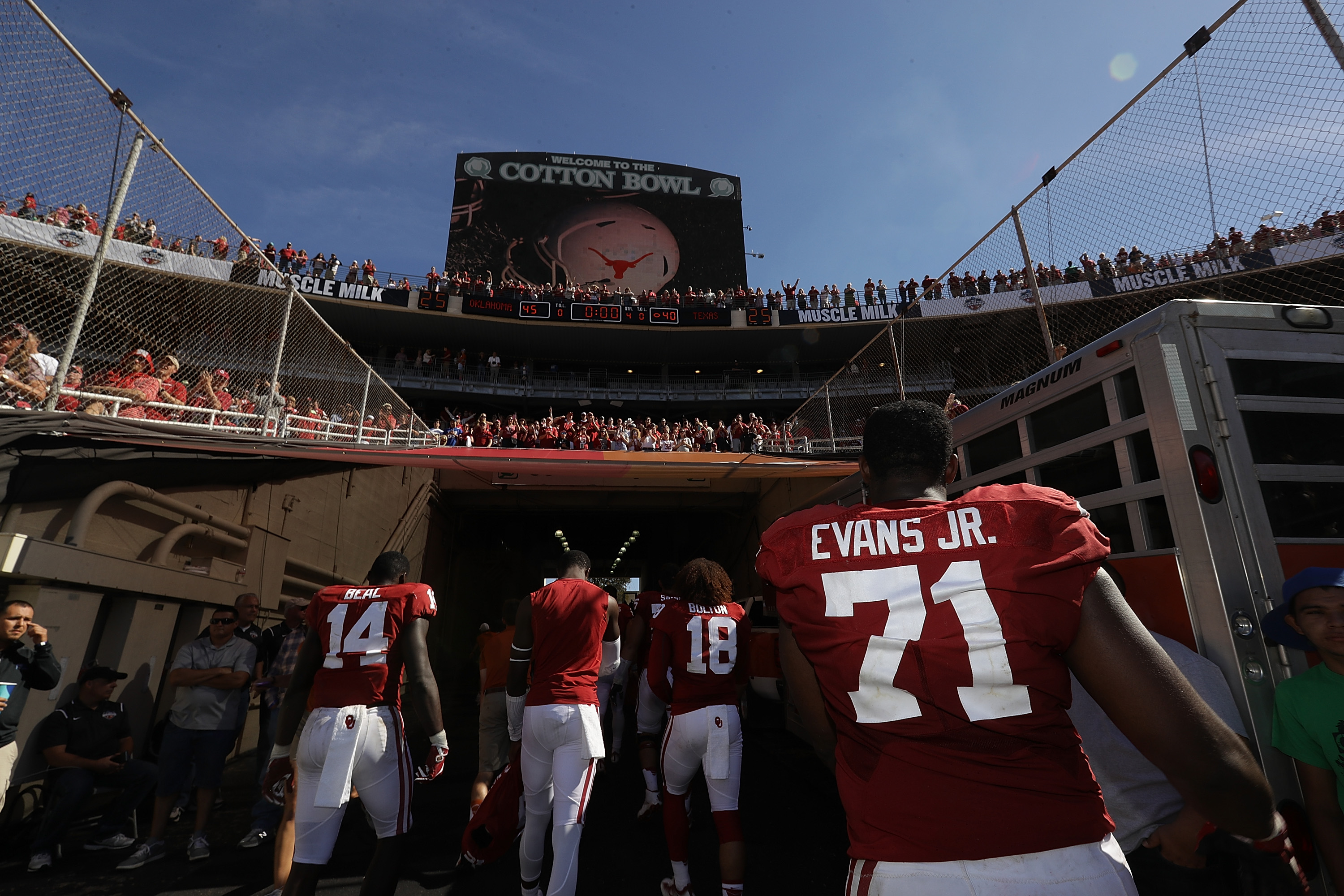 Oklahoma Sooners OL Bobby Evans leaves the field after the Sooners' 45-40 win over the Texas Longhorns, Oct. 8, 2016.