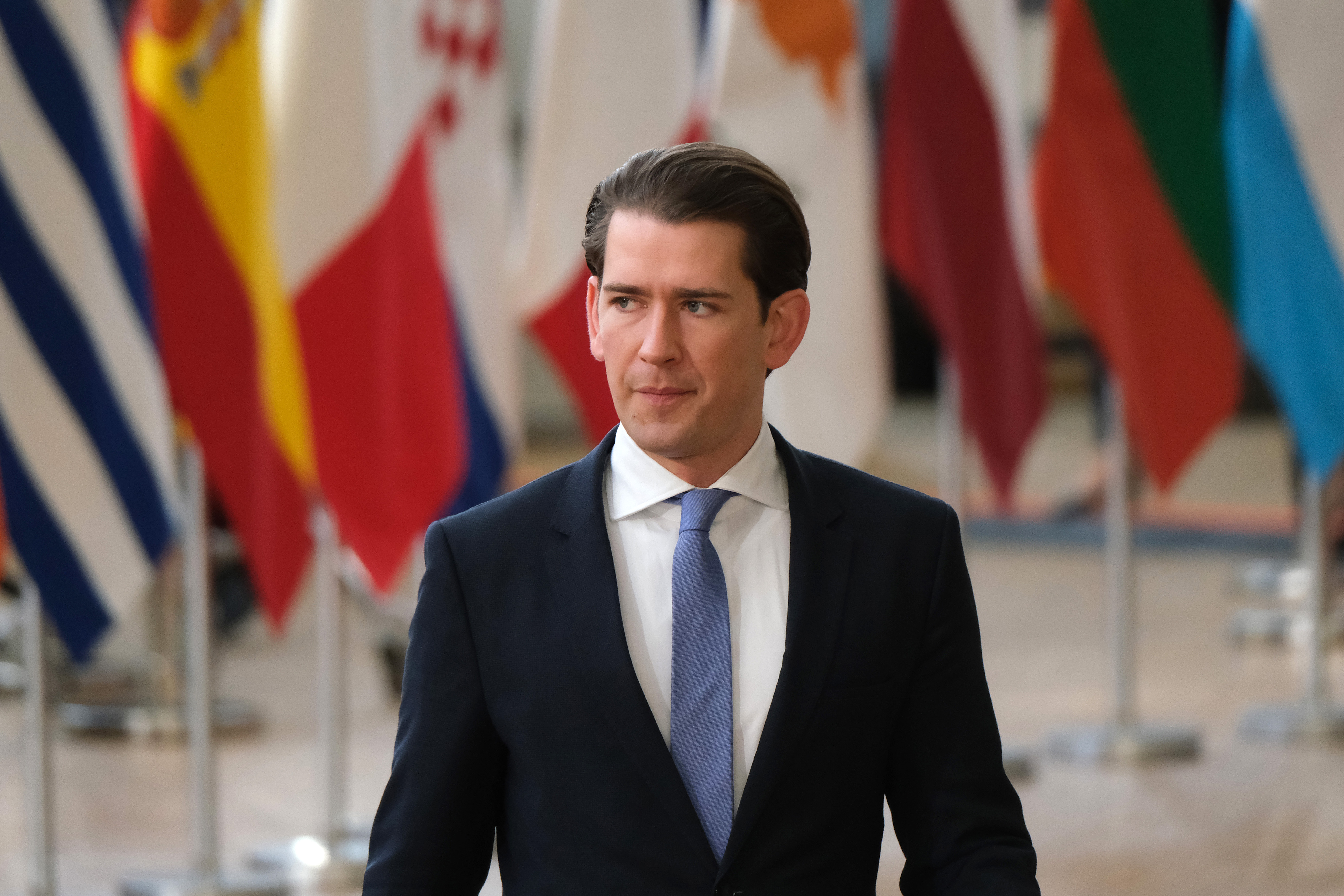 Austrian Chancellor Sebastian Kurz attends a celebration to mark the 25th anniversary of the European Economic Area on the second day of an EU summit on March 22, 2019 in Brussels, Belgium.