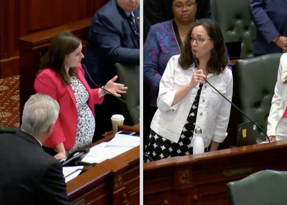 State Rep. Avery Bourne, R-Raymond, left, and state Rep. Kelly Cassidy, right, D-Chicago, stake out opposing sides during the May 28 Illinois House debate on the abortion bill. Screen images.