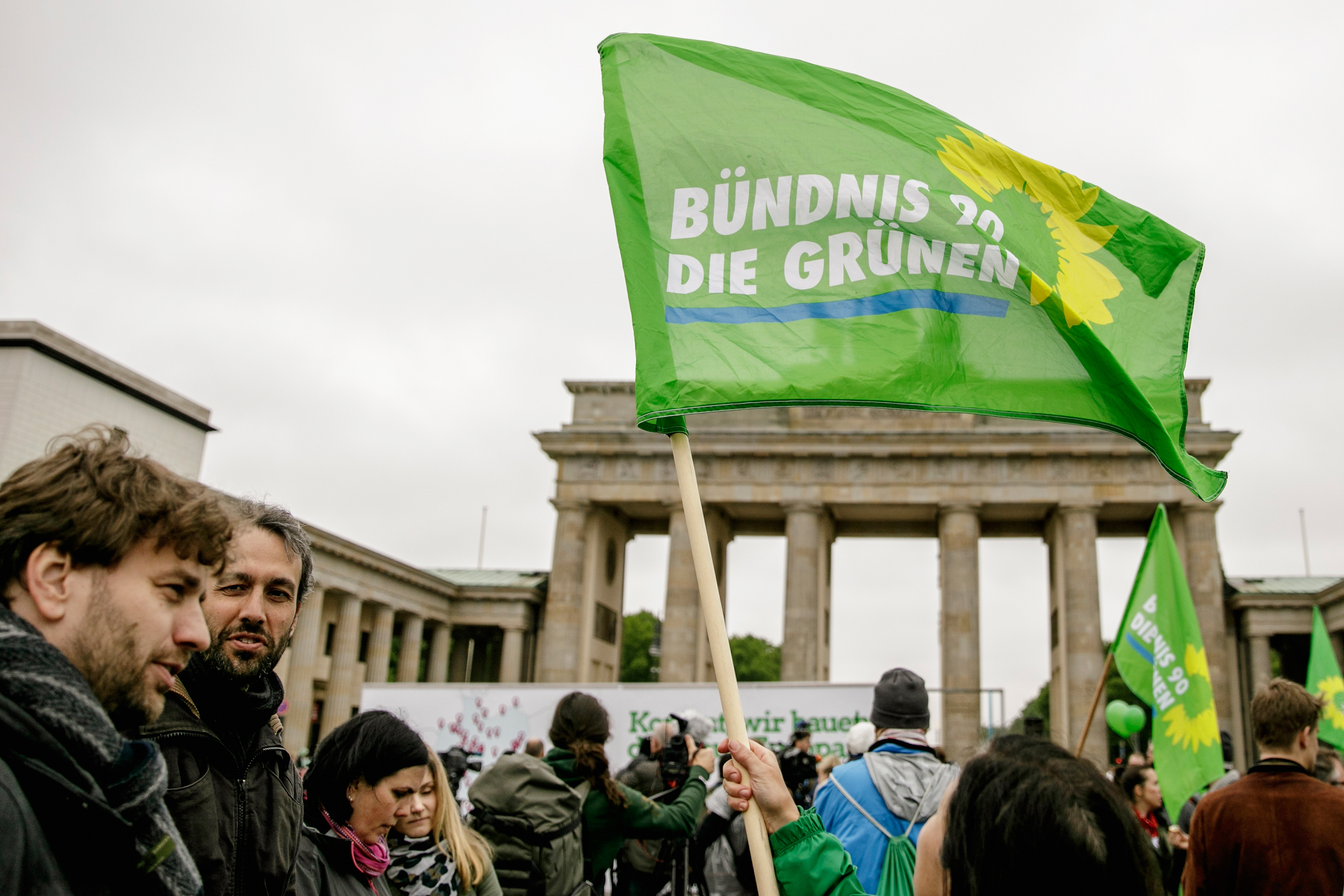A supporter of the German Greens Party in the European Parliamentary elections waves a flag at an election campaign event on April 29, 2019, in Berlin, Germany.