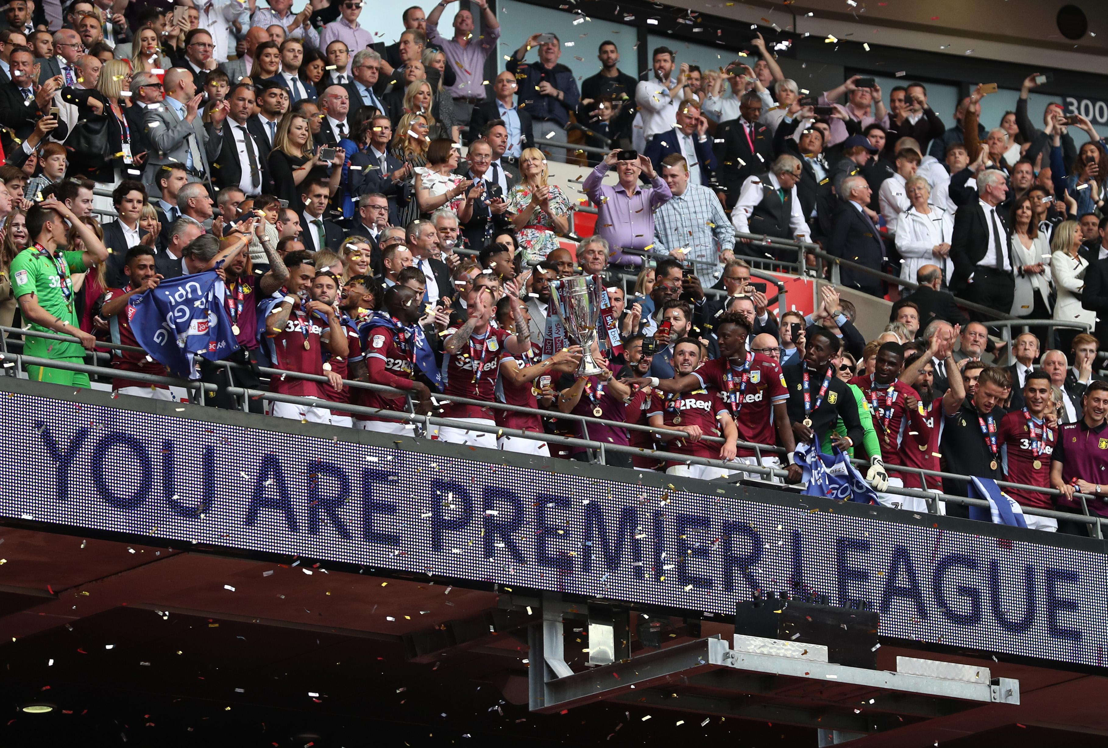 Aston Villa lift the trophy - Aston Villa v Derby County - EFL Championship Playoff Final - Wembley