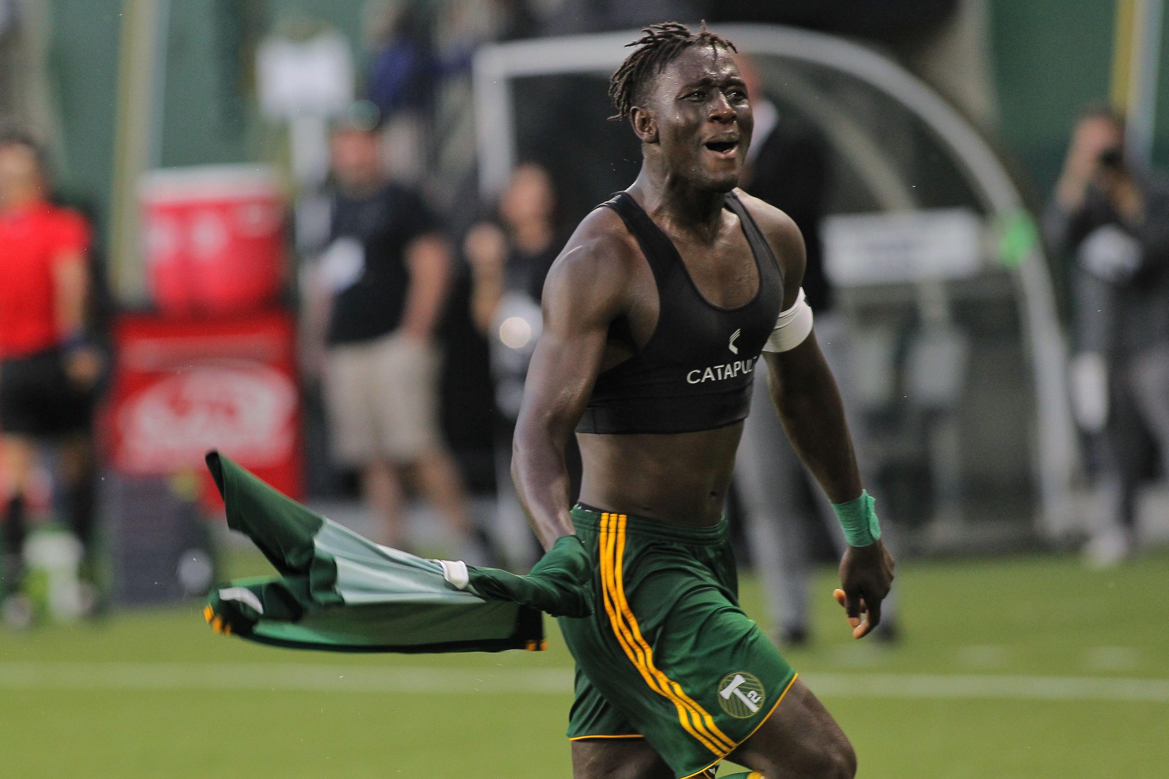 Modou Jadama celebrates his free kick goal against Real Monarchs