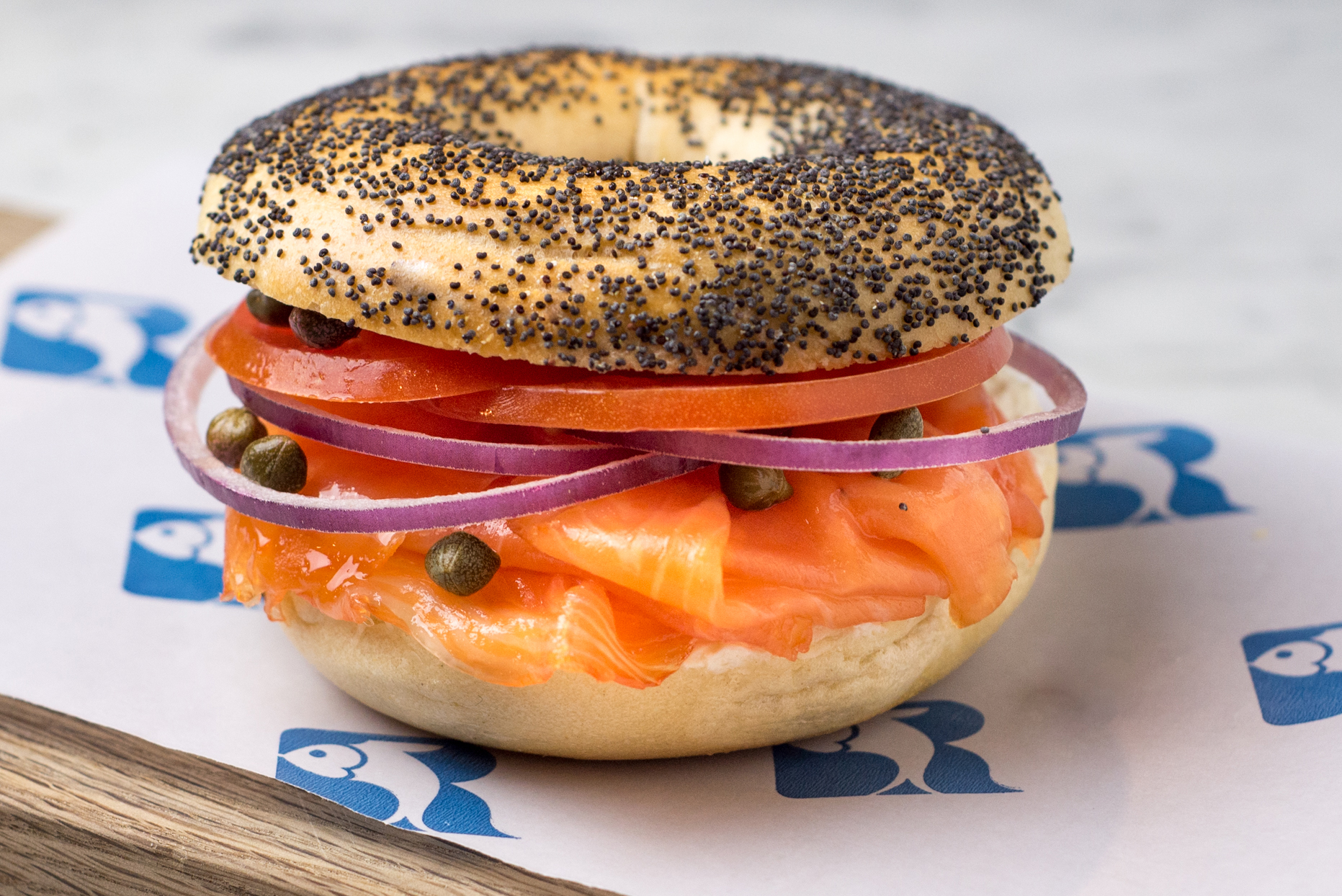 Bagel and lox sandwich from Russ & Daughters