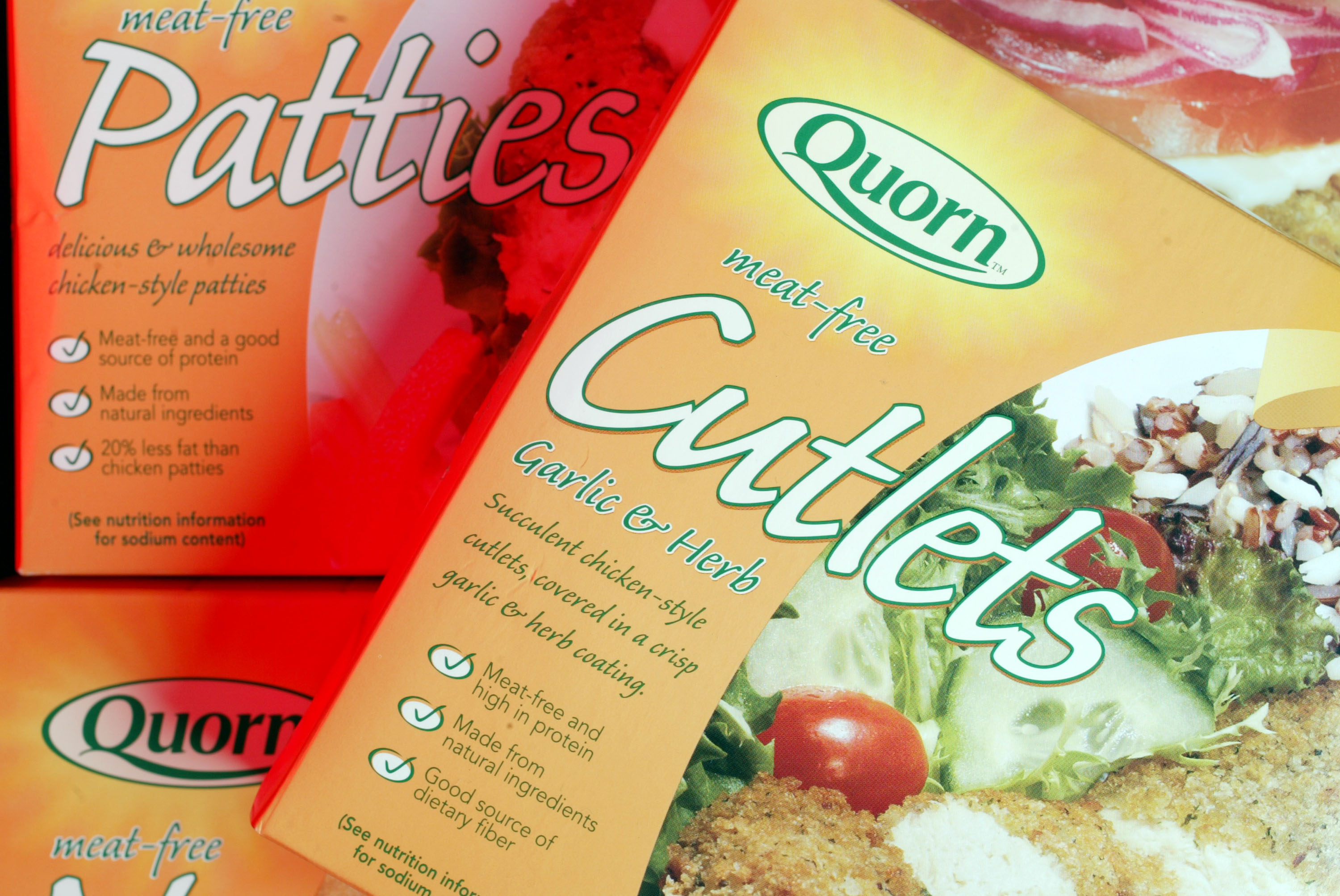 Meat free quorn, at the likes of which available at Sainsburys meat free butcher