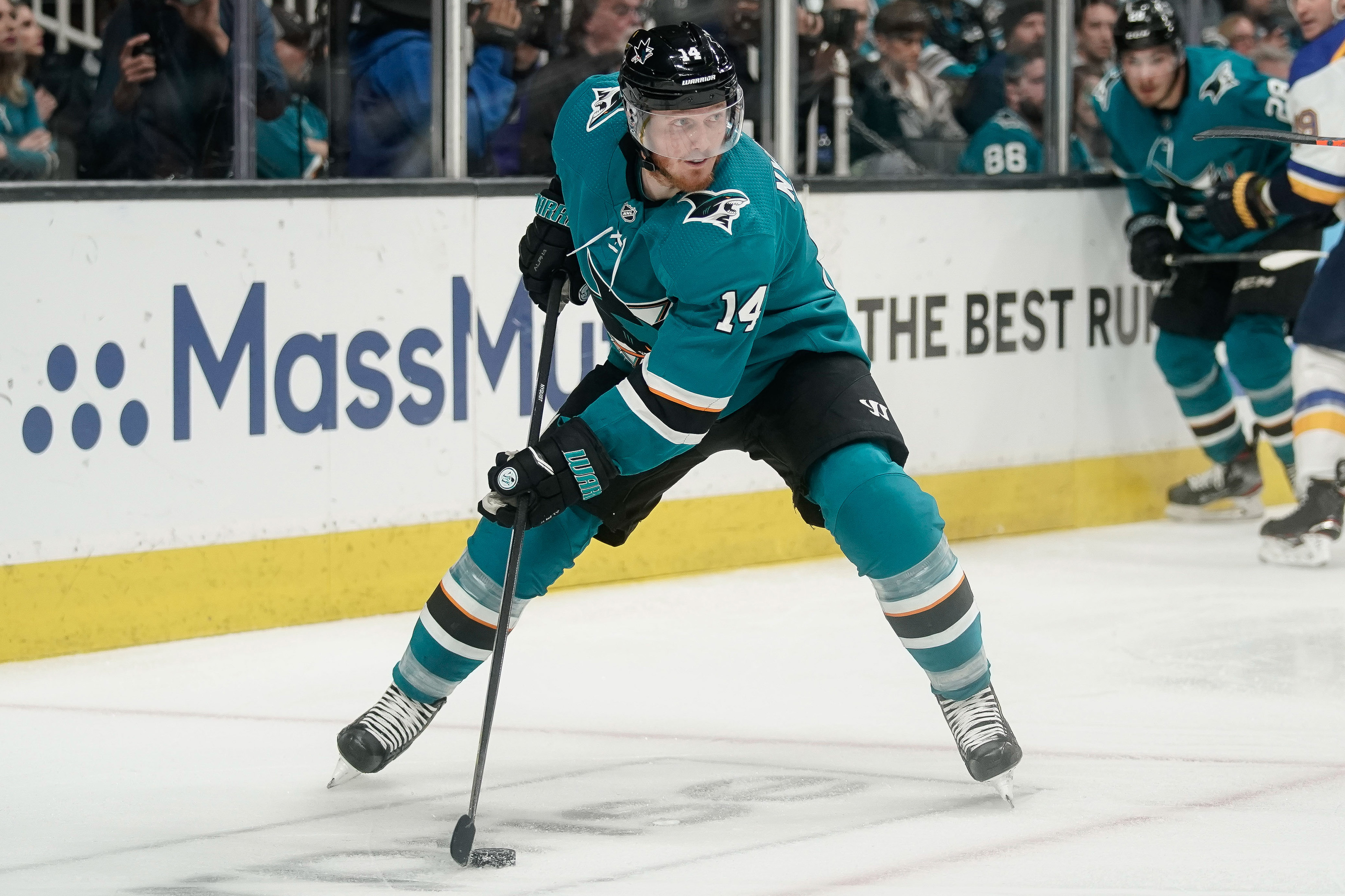 May 19, 2019; San Jose, CA, USA; San Jose Sharks center Gustav Nyquist controls the puck against the St. Louis Blues during the second period in Game 5 of the Western Conference Final of the 2019 Stanley Cup Playoffs at SAP Center at San Jose.