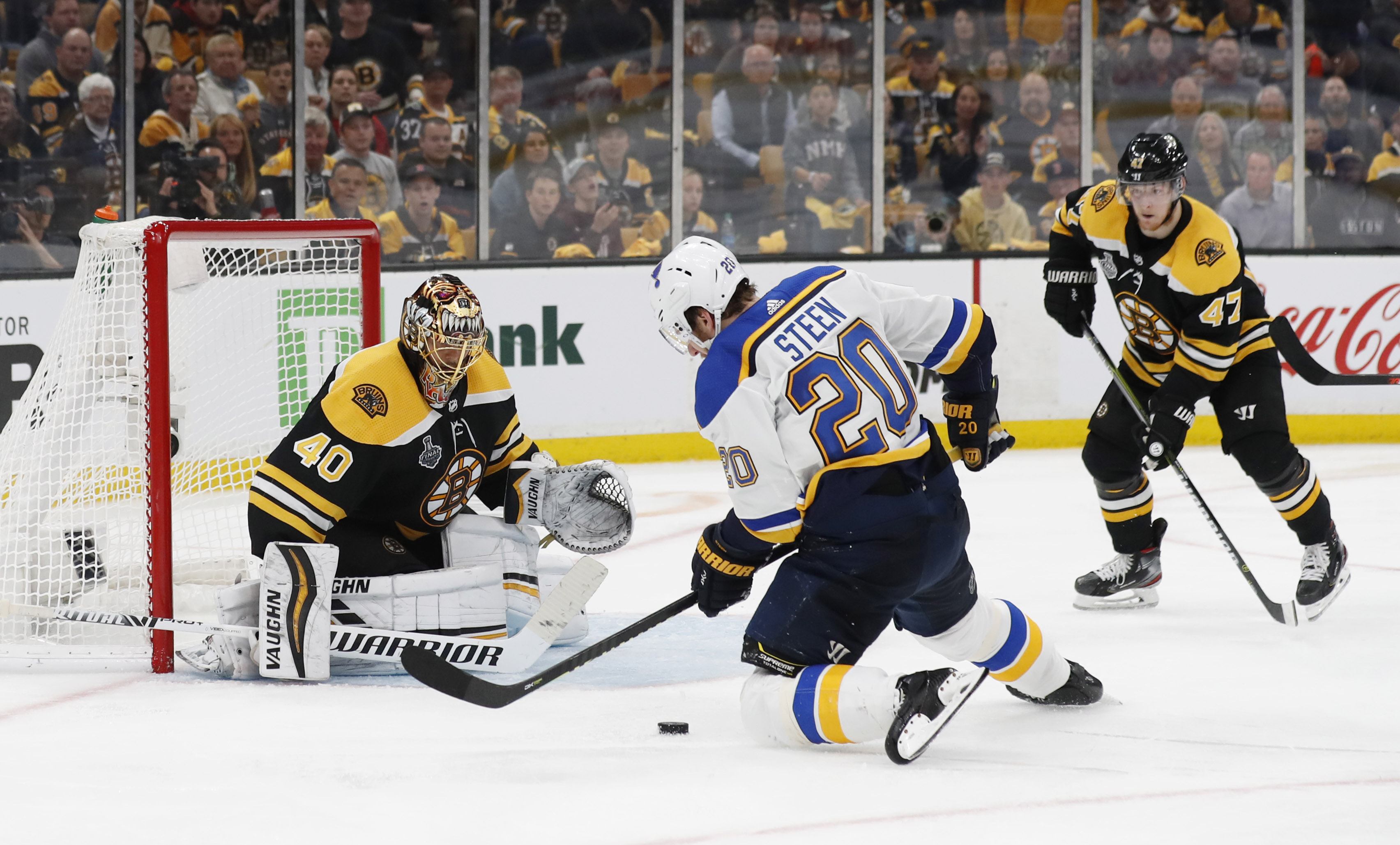 May 29, 2019; Boston, MA, USA; Boston Bruins goaltender Tuukka Rask (40) makes a save against St. Louis Blues left wing Alexander Steen (20) in overtime in game two of the 2019 Stanley Cup Final at TD Garden. Mandatory Credit: Winslow Townson