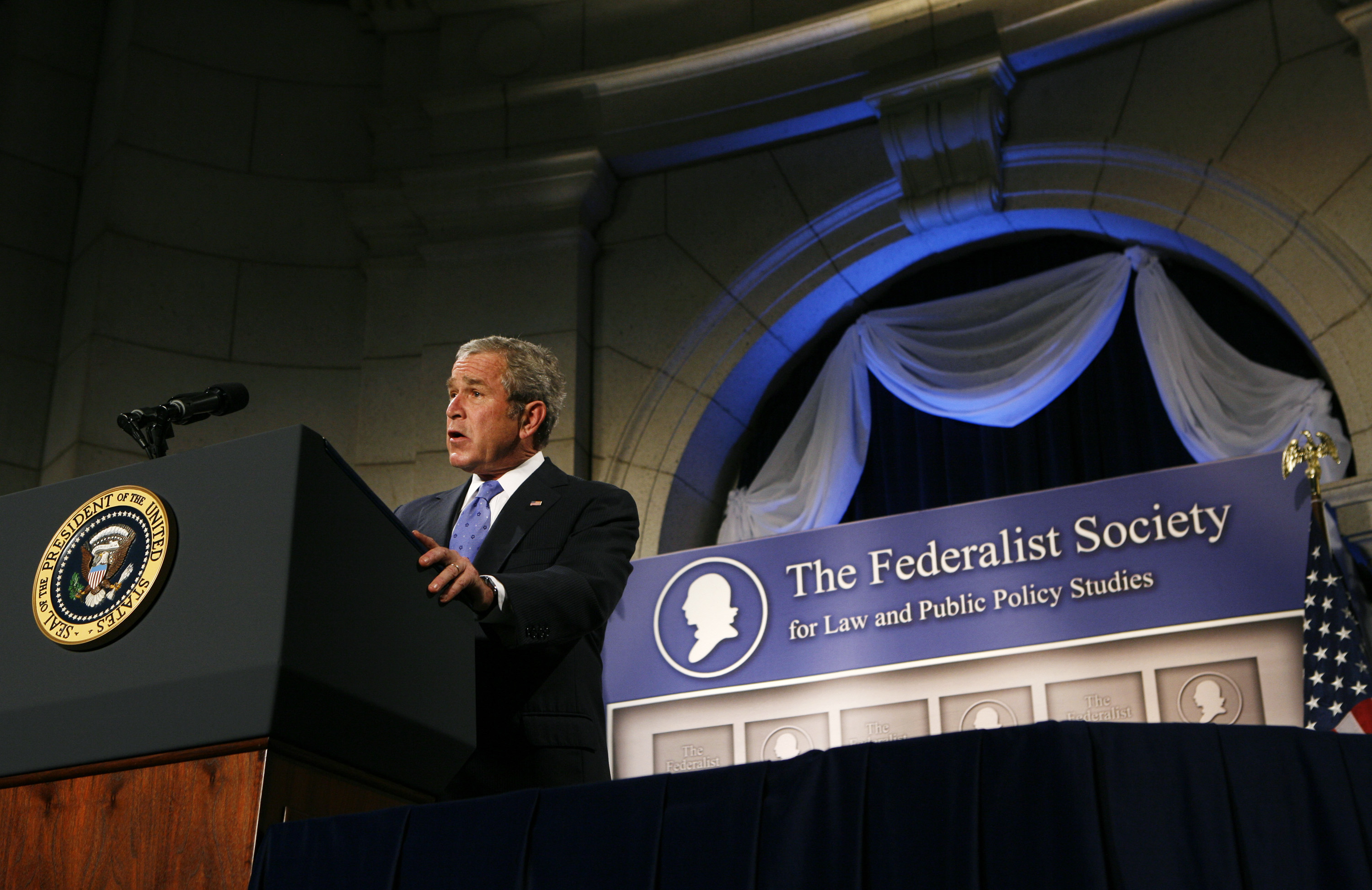George W. Bush speaking before the Federalist Society while still president in 2007.