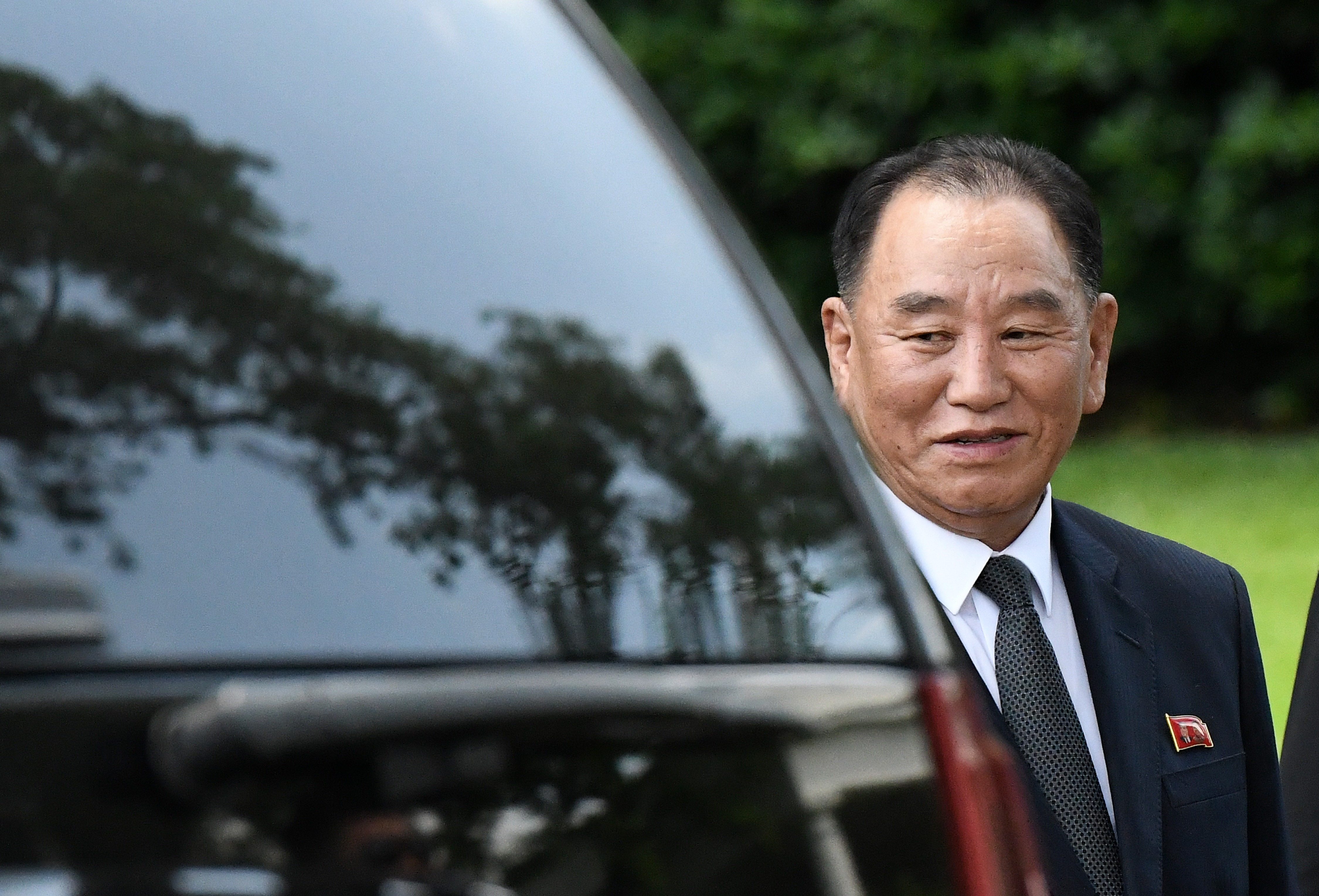 Kim Yong Chol, former North Korean military intelligence chief, departs the White House on June 1, 2018 in Washington, DC.