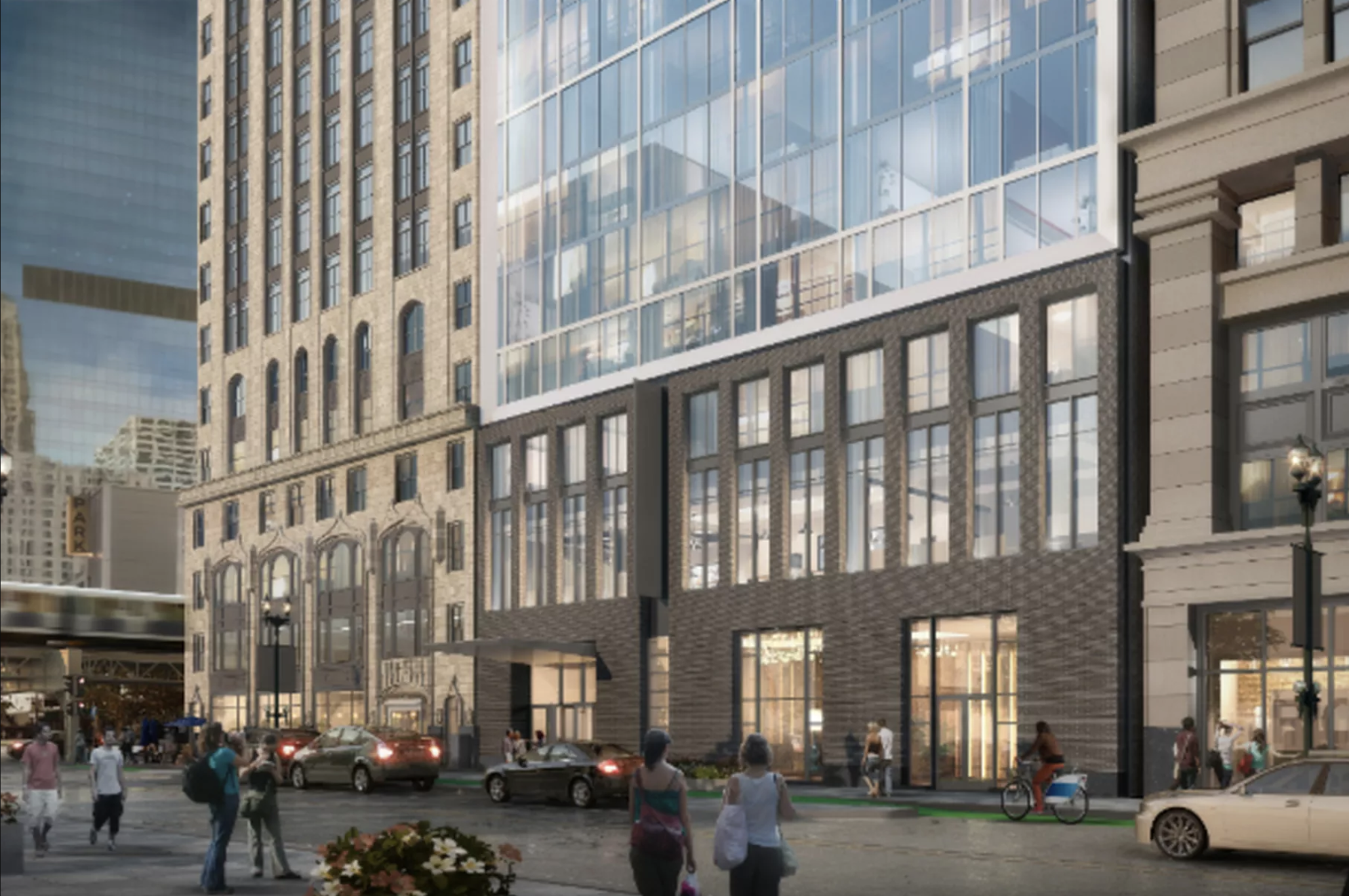 Glassy 13-story hotel pitched for narrow lot across from the Palace Theatre