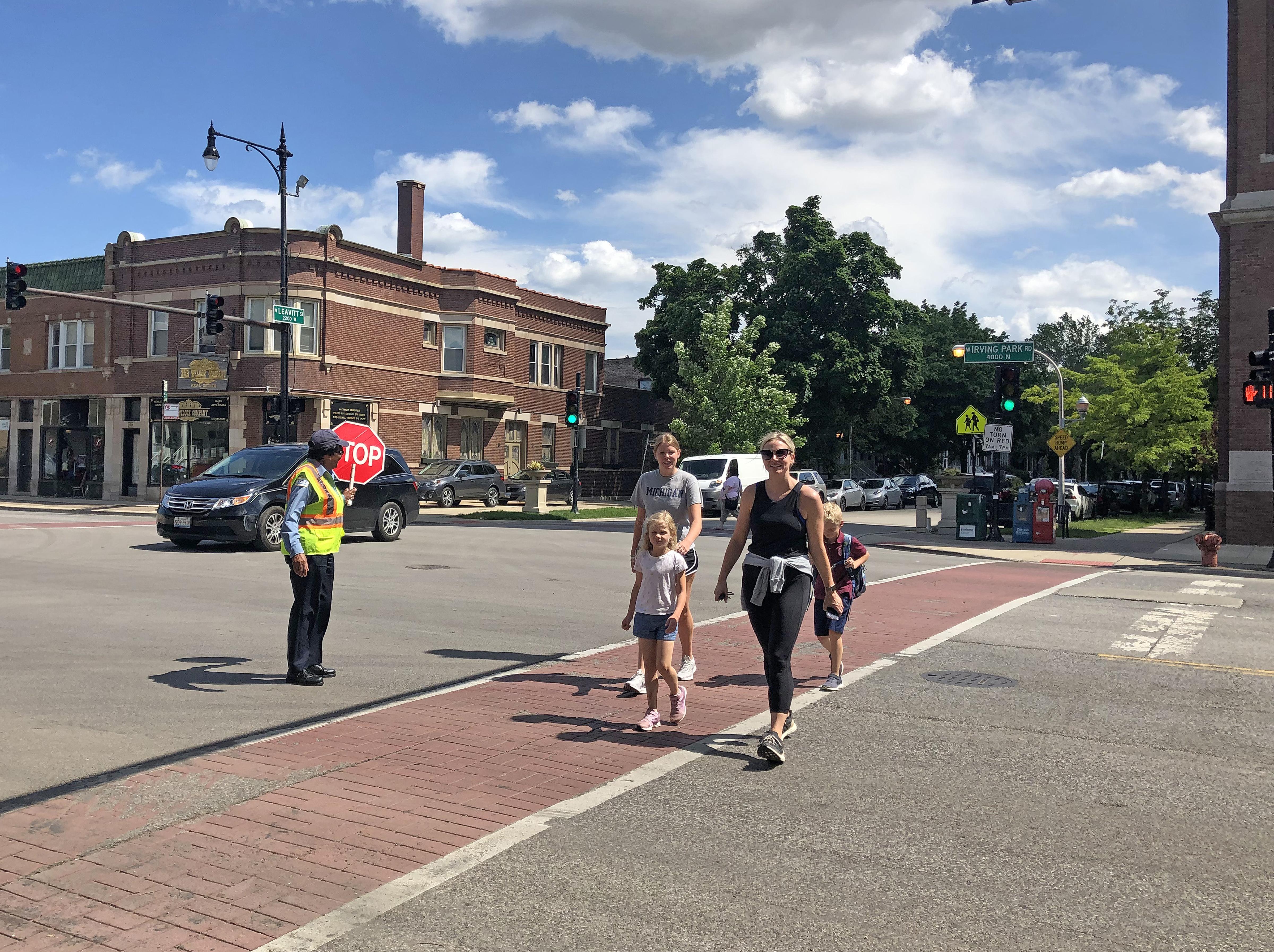 Crossing guard Roxie Calhoun