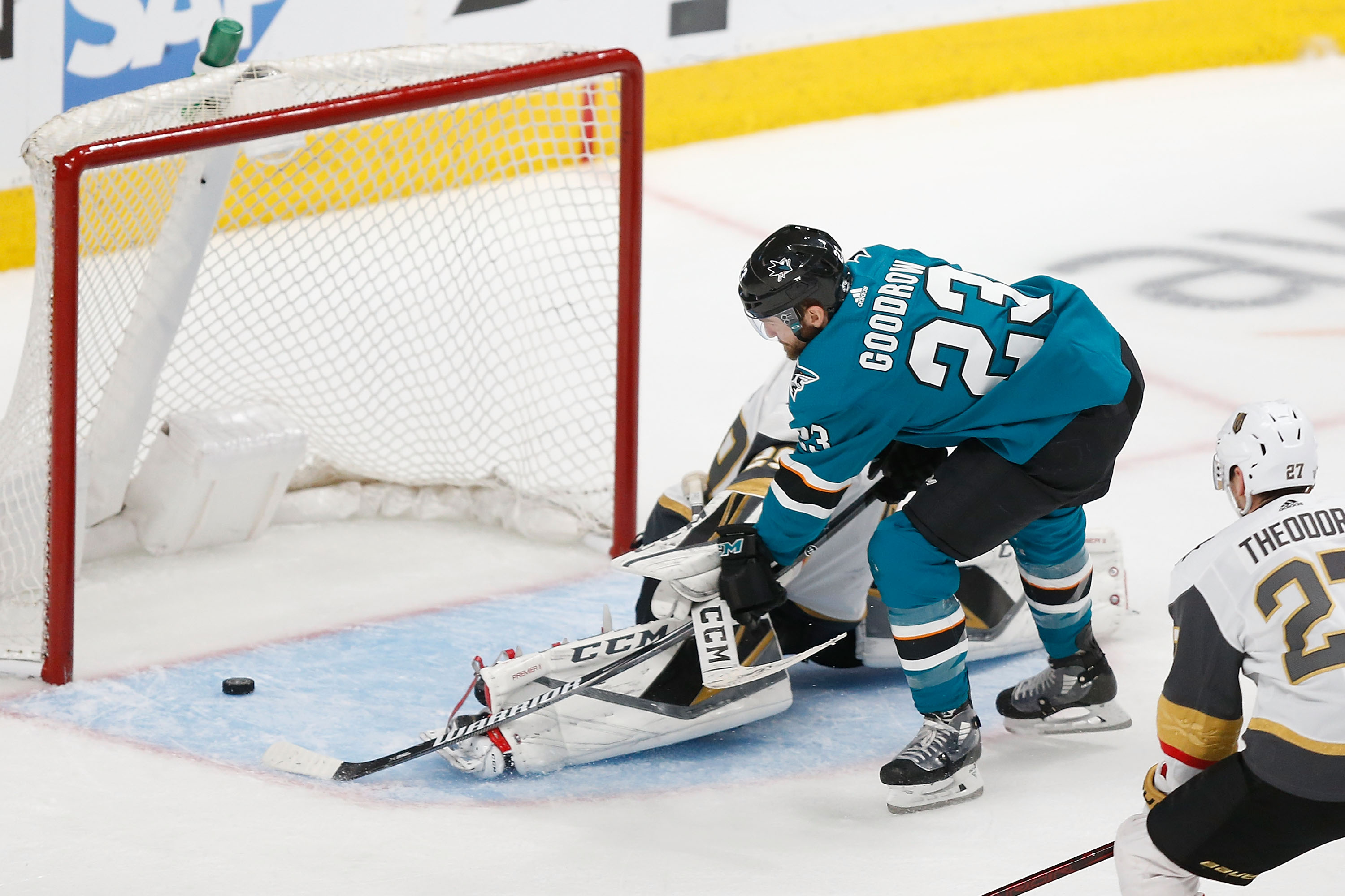 SAN JOSE, CA - APRIL 23: Barclay Goodrow of the San Jose Sharks scores a goal in overtime against Marc-Andre Fleury of the Vegas Golden Knights in Game Seven of the Western Conference First Round during the 2019 NHL Stanley Cup Playoffs at SAP Center