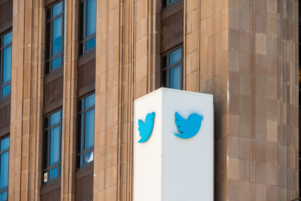 The Twitter logo on the sign at its Mid Market office.