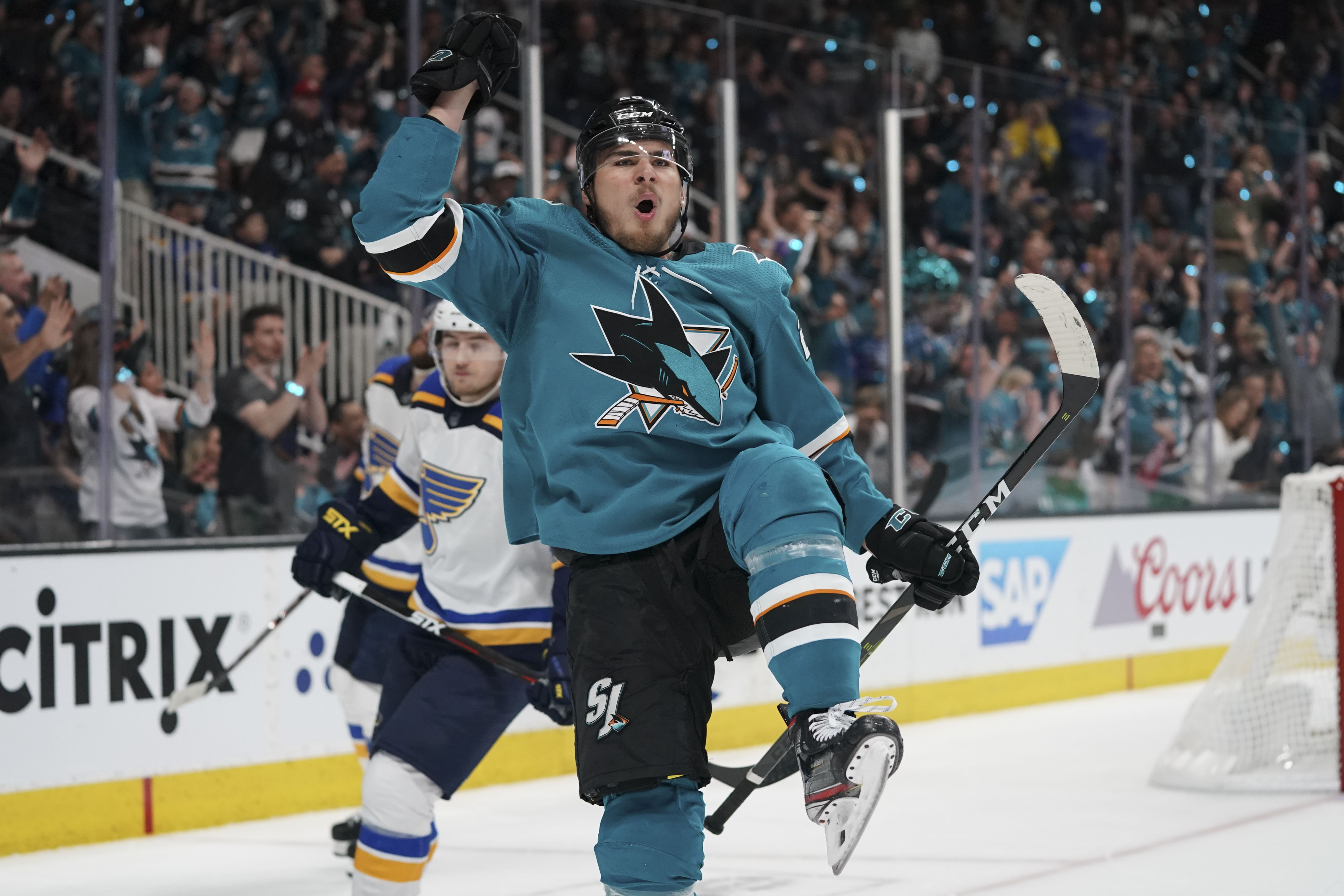 May 11, 2019; San Jose, CA, USA; San Jose Sharks right wing Timo Meier celebrates after scoring a goal against the St. Louis Blues during the second period in Game 1 of the Western Conference Final of the 2019 Stanley Cup Playoffs at SAP Center.