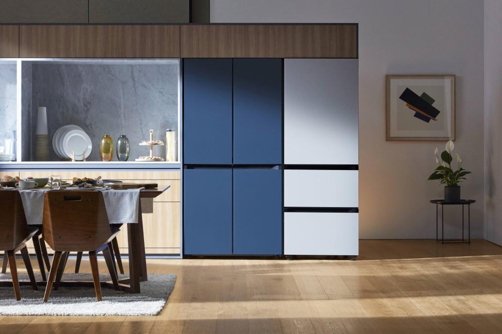 Blue and white refrigerator