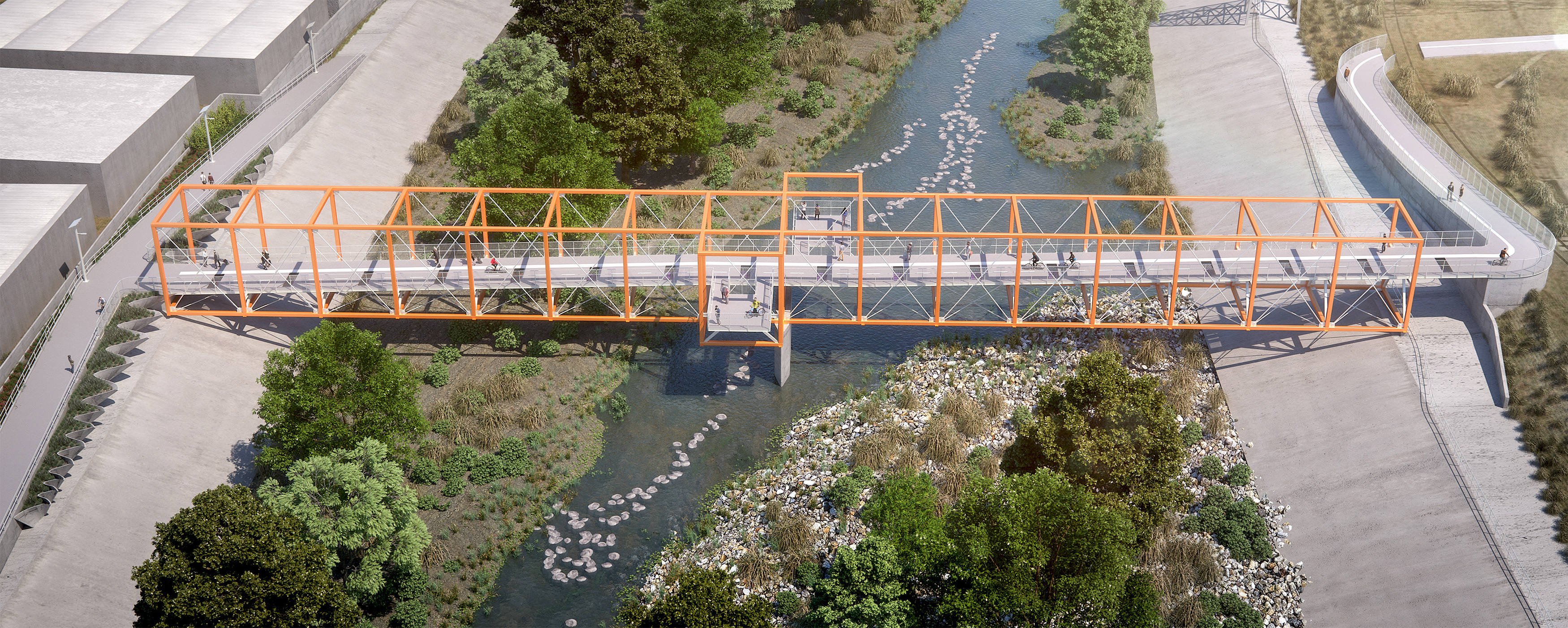 A rendering of the orange bridge that will connect Elysian Park and Cypress Park over the LA River.