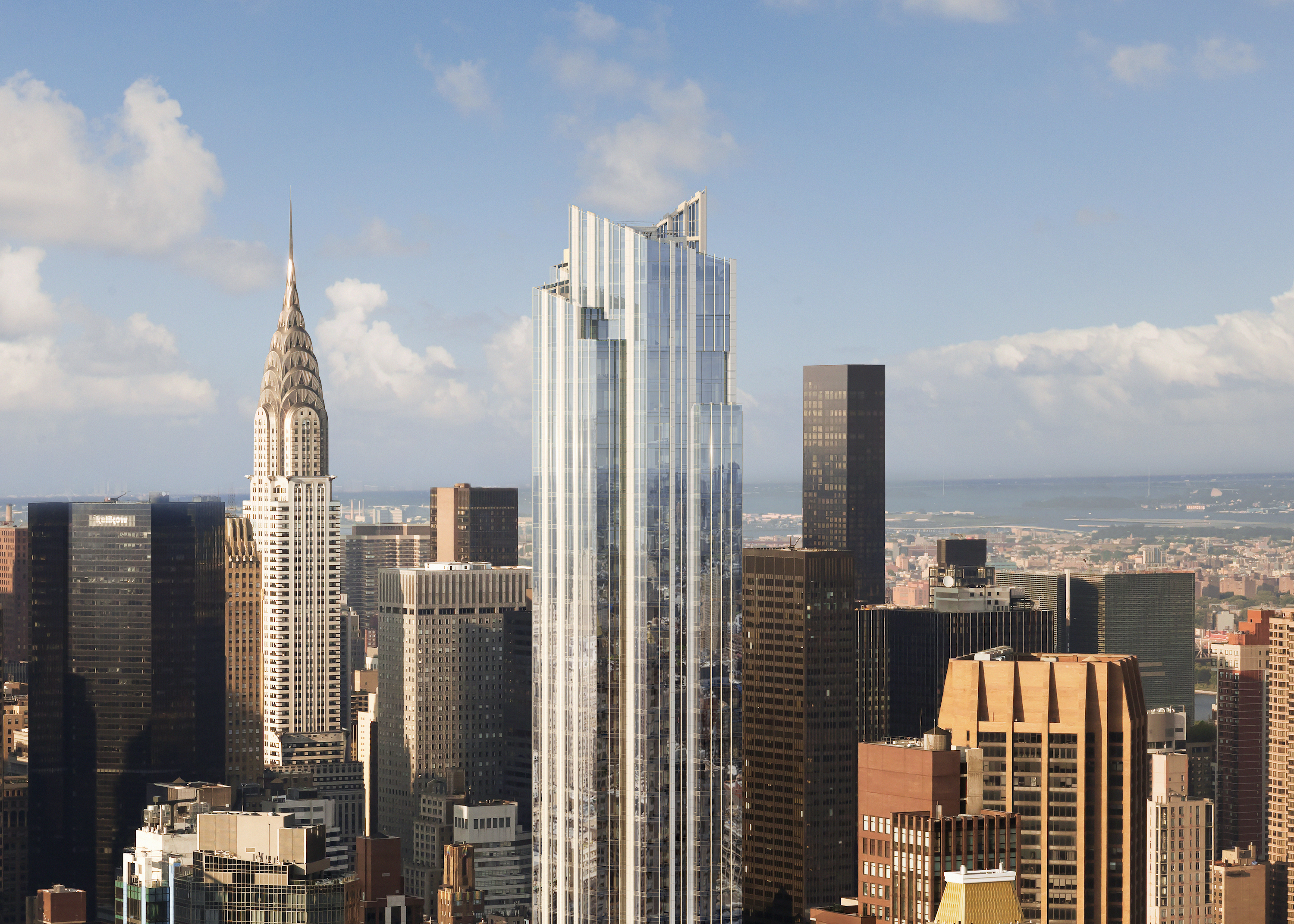 A group of tall skyscrapers including the Chrysler Building.