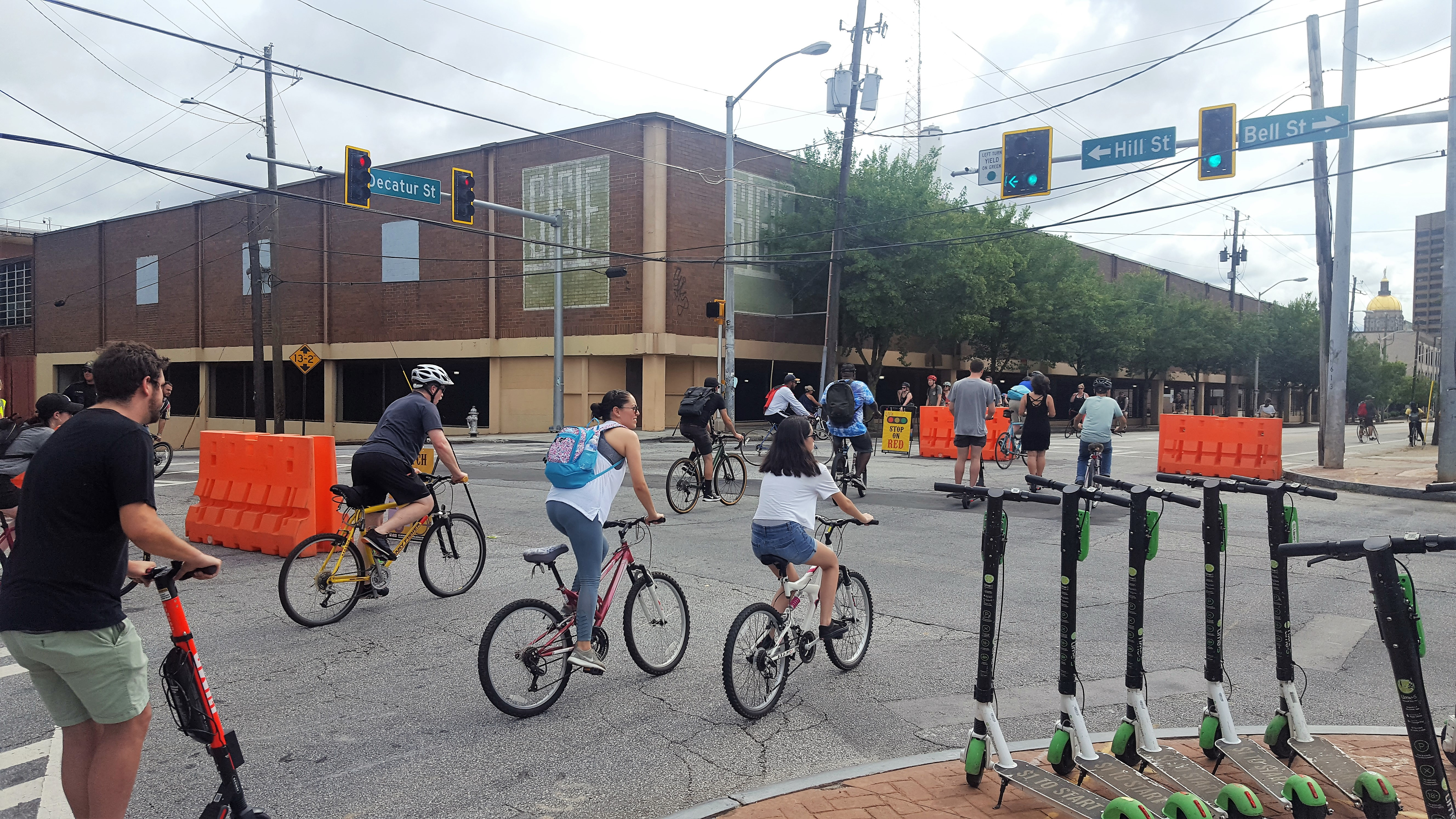 a picture of bikes crossing decatur street