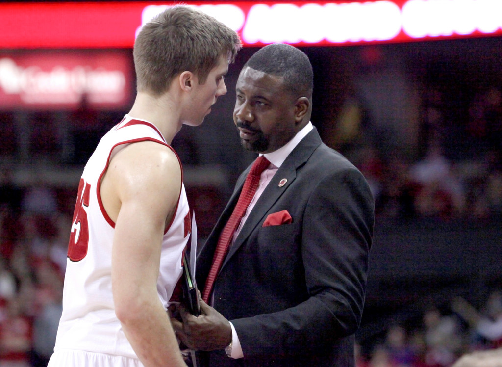 Wisconsin assistant coach Howard Moore talks to a player.