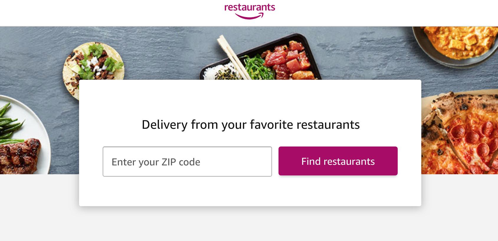 Amazon Restaurants homepage