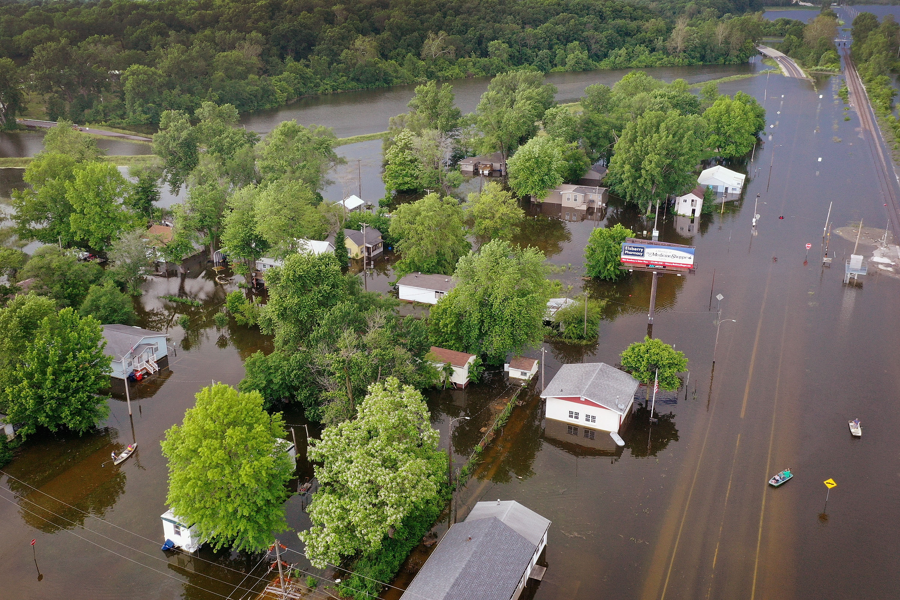 Floodwater from the Mississippi River has overtaken much of the town on June 1, 2019 in Foley, Missouri.