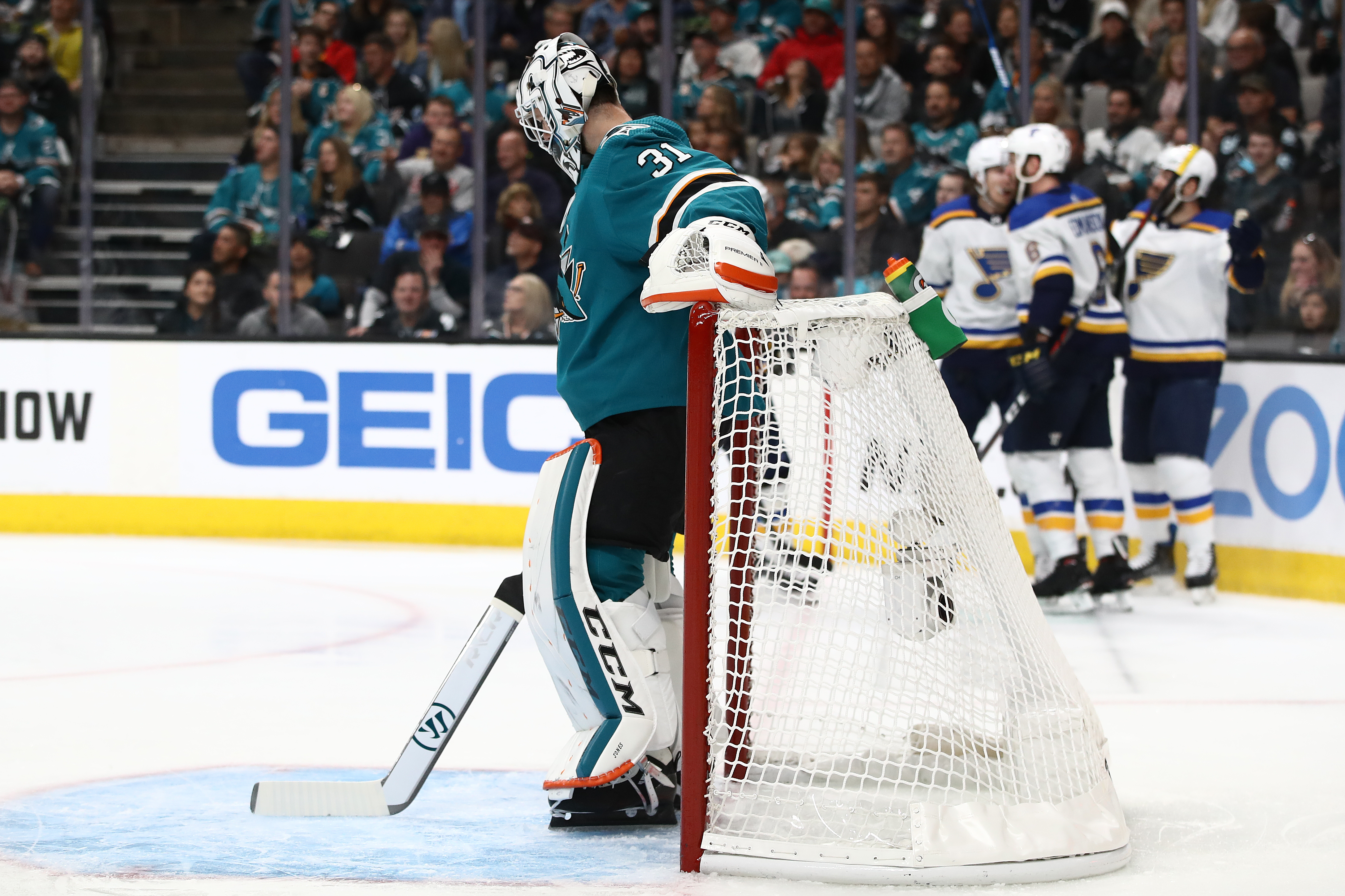 Martin Jones of the San Jose Sharks reacts after allowing a goal to Oskar Sundqvist of the St. Louis Blues in the first period of Game 5 of the Western Conference Final during the 2019 NHL Stanley Cup Playoffs at SAP Center on May 19, 2019 in San Jose, Ca
