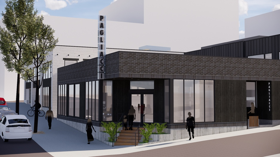 A computer rendering of the Pagliacci restaurant planned for E Pike Street, with a brick facade and its iconic sign out front.