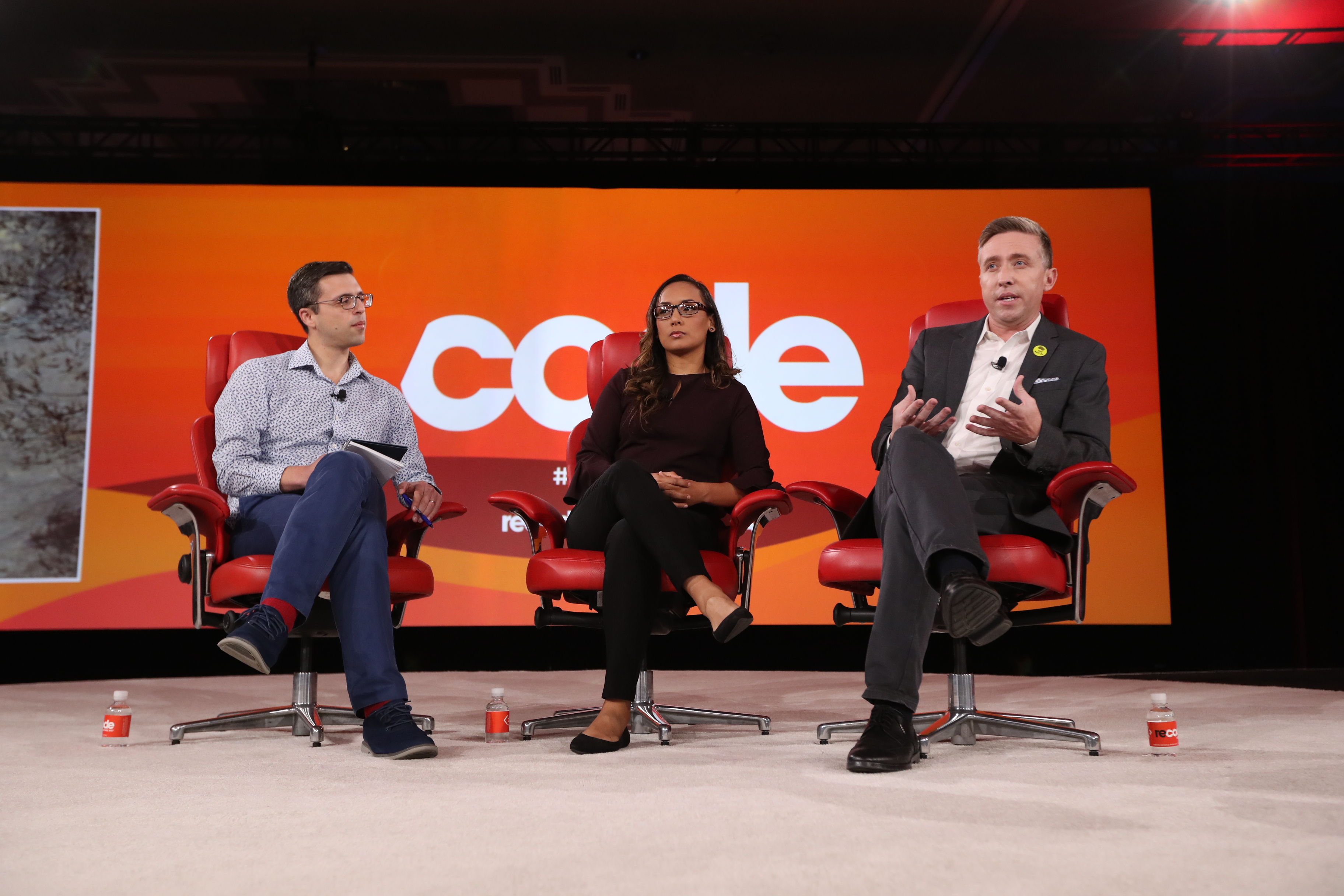 RAICES chief advocacy officer Erika Andiola and RAICES CEO Jonathan Ryan speaking onstage at Code Conference 2019.