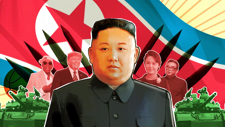 Photoillustration of Kim Jong Un and tanks.