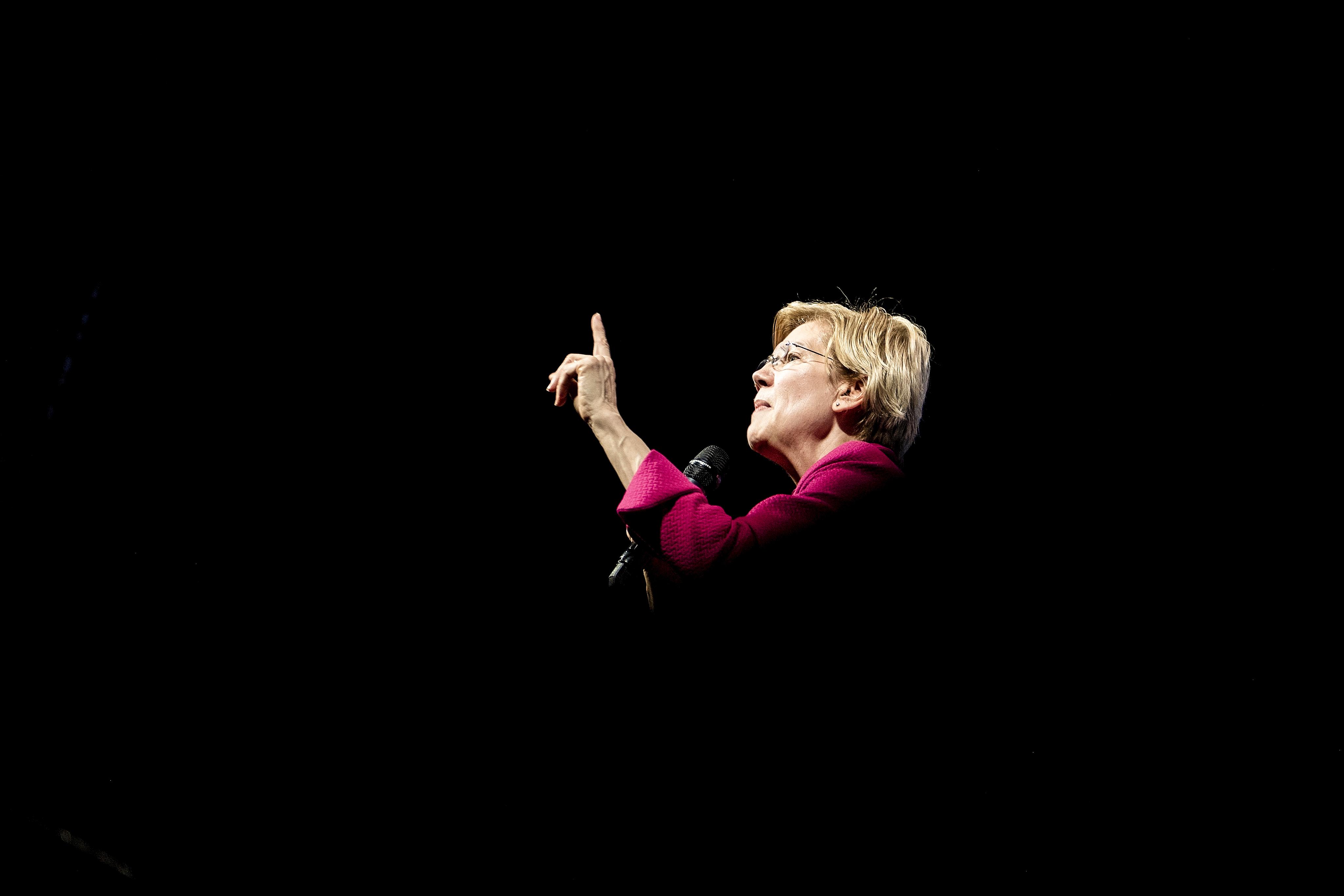 "Sen. Elizabeth Warren (D-MA), a 2020 Presidential hopeful, speaks during the ""We The People"" Summit in Washington, D.C., on April 1, 2019."