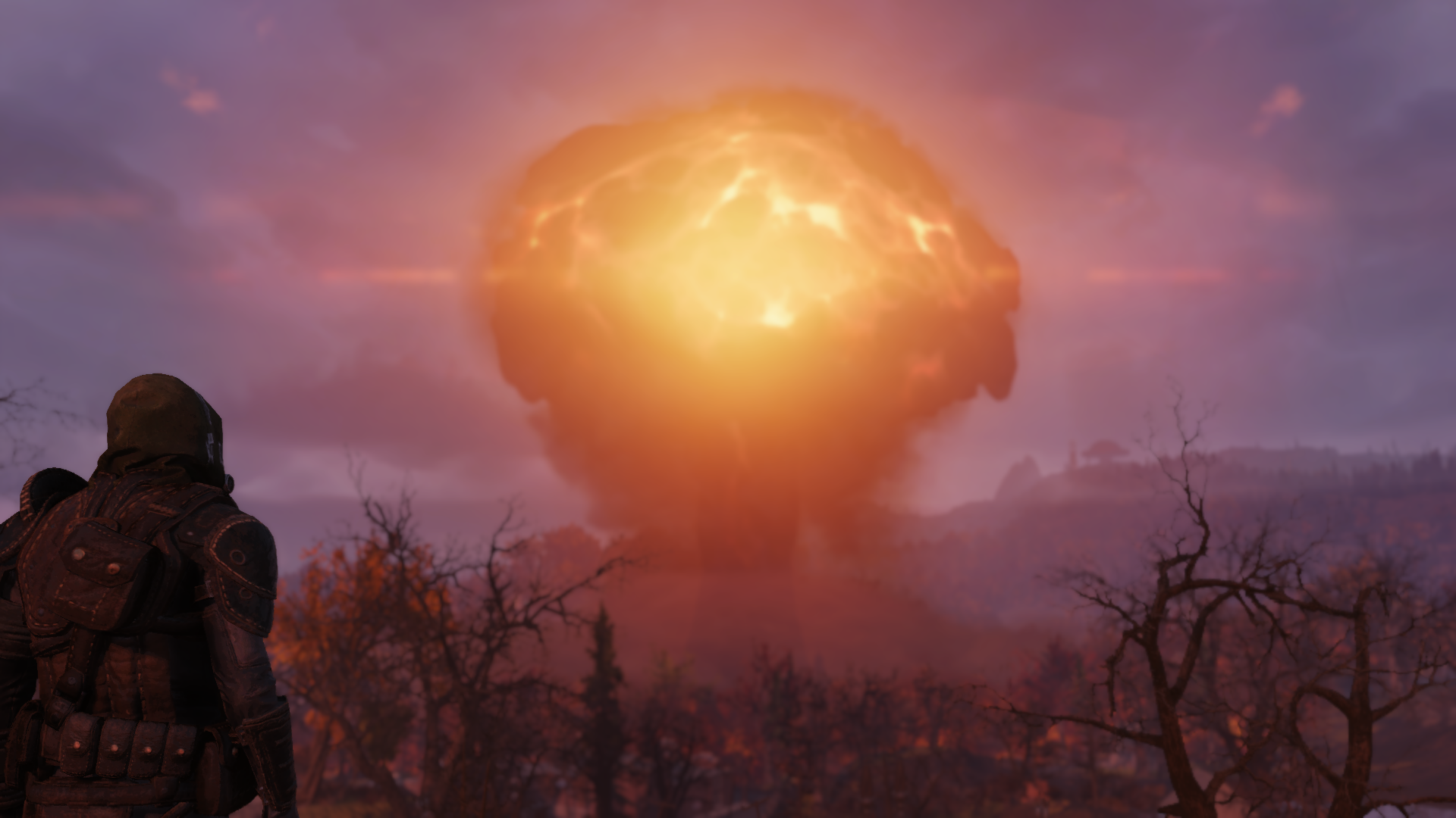 Fallout 76 - a player watches a nuclear mushroom cloud bloom in the distance