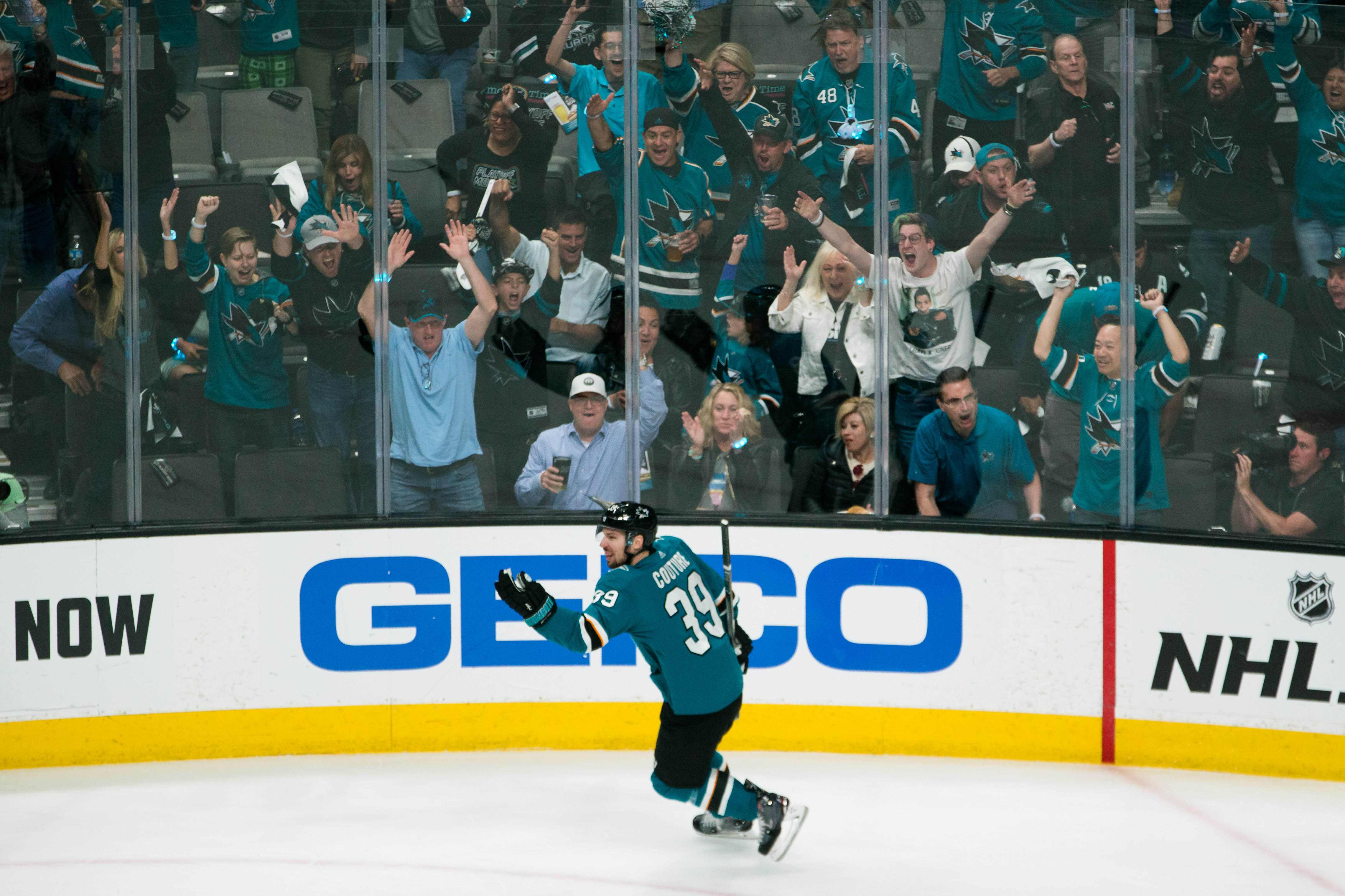 May 13, 2019; San Jose, CA, USA; San Jose Sharks center Logan Couture celebrates after scoring a goal against St. Louis Blues in the second period of Game 2 of the Western Conference Final of the 2019 Stanley Cup Playoffs at SAP Center.