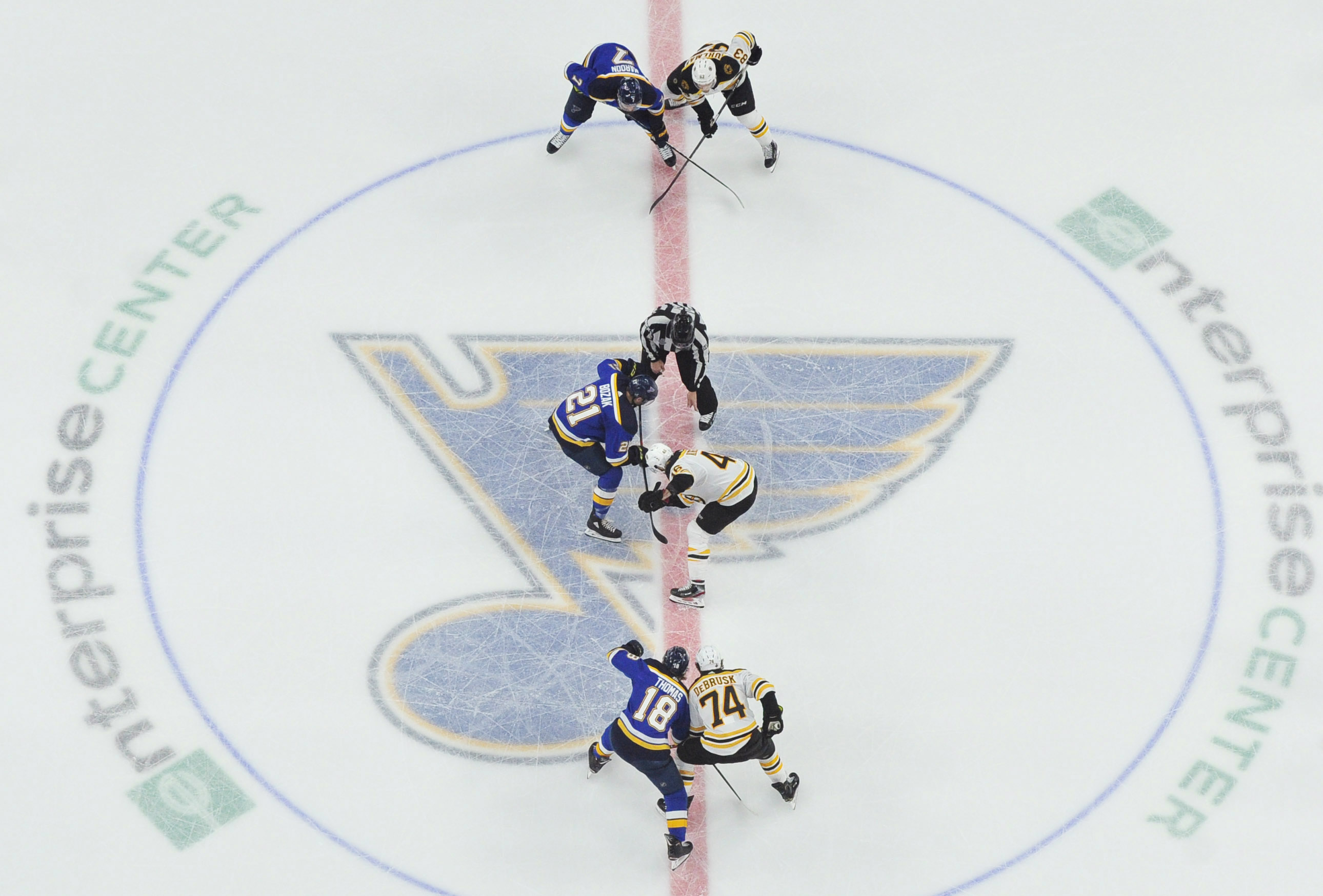 Jun 9, 2019; St. Louis, MO, USA; St. Louis Blues center Tyler Bozak (21) and Boston Bruins center David Krejci (46) take a face off in the third period in game six of the 2019 Stanley Cup Final at Enterprise Center. Mandatory Credit: Jeff Curry