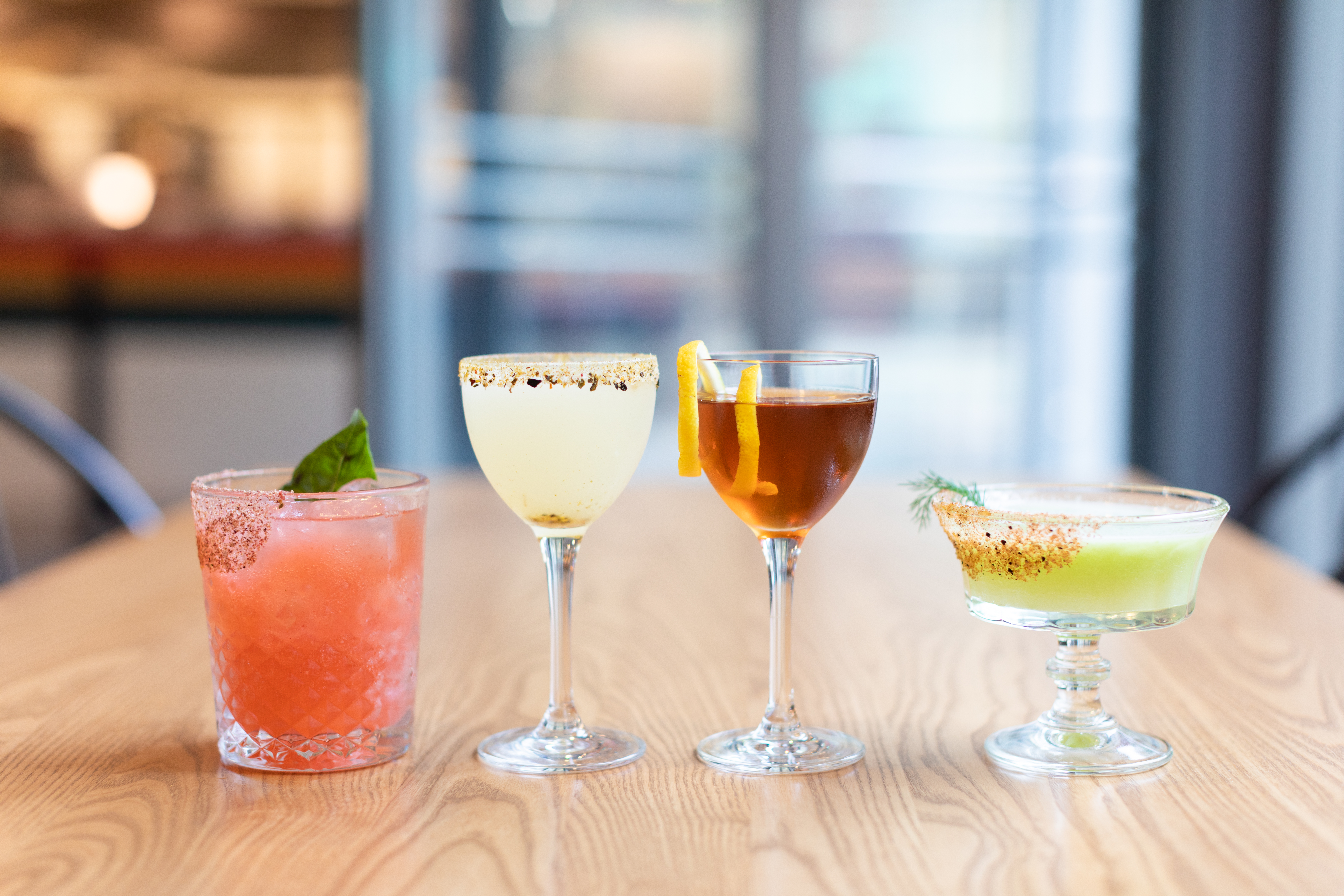Four cocktails in a row