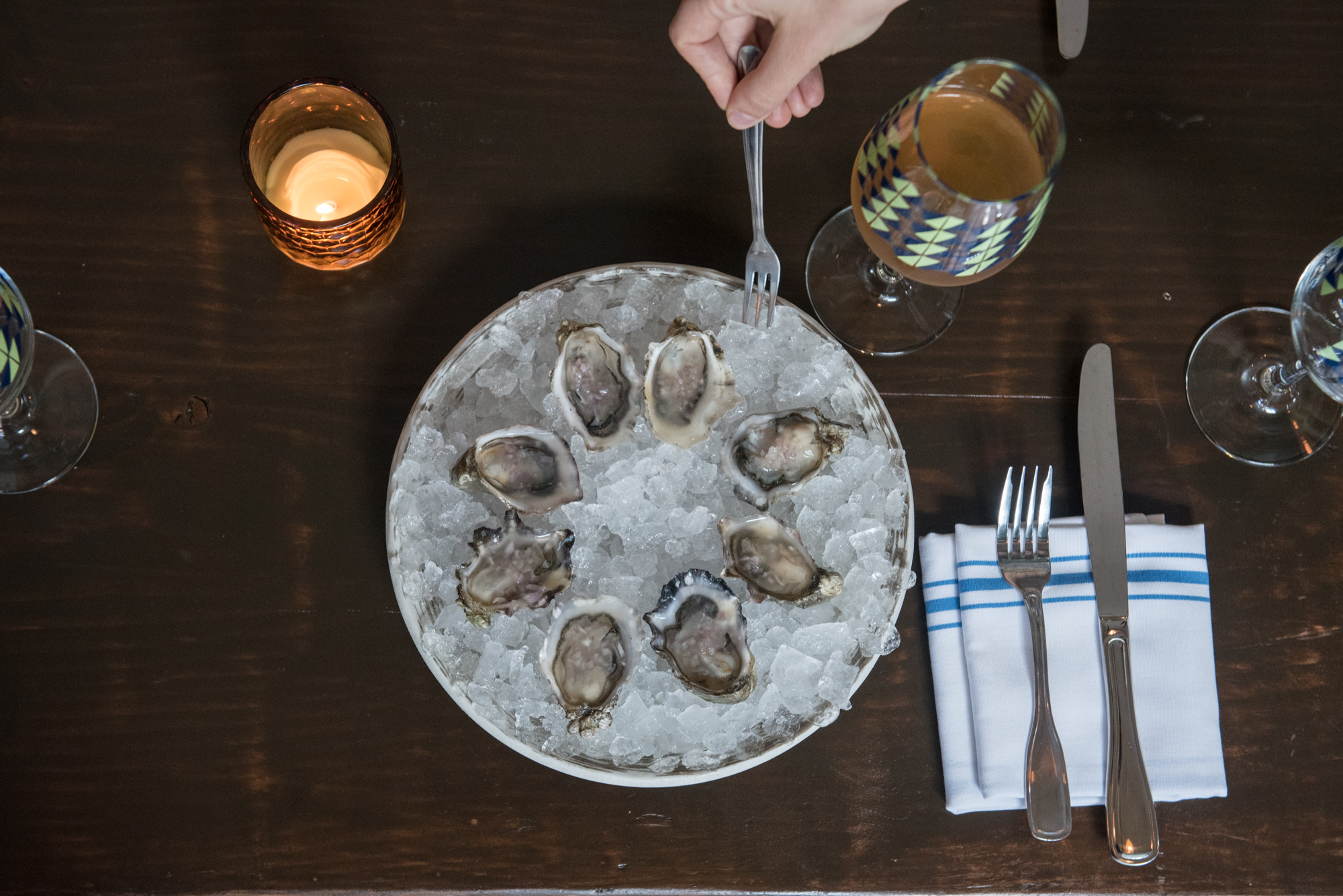 A top-down view of an oyster platter at Vinnie's Raw Bar.