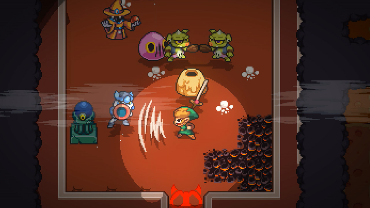 Link fighting enemies in a dungeon in Cadence of Hyrule: Crypt of the NecroDancer featuring The Legend of Zelda