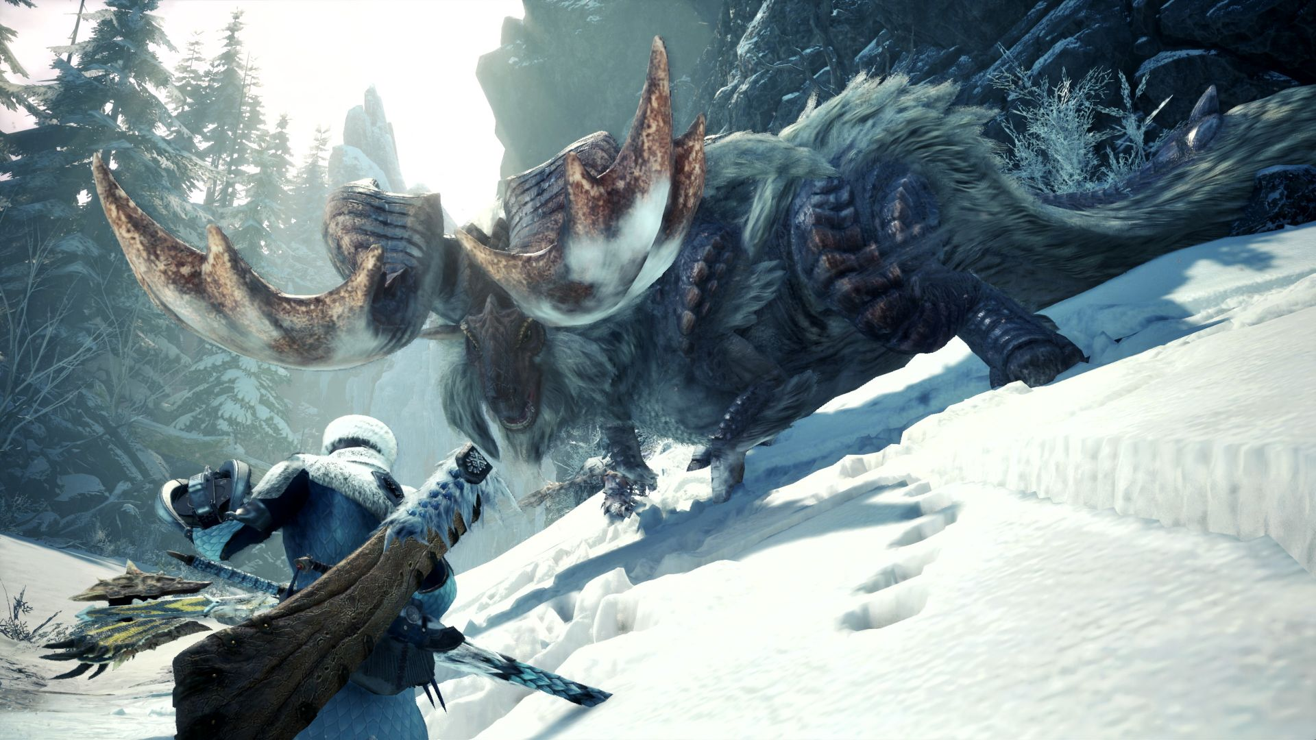 Hunting a big-horned banbaro in Monster Hunter World: Iceborne