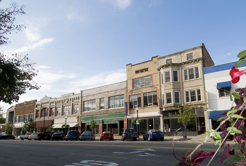 A street view of buildings in Beloit, Wisconsin.